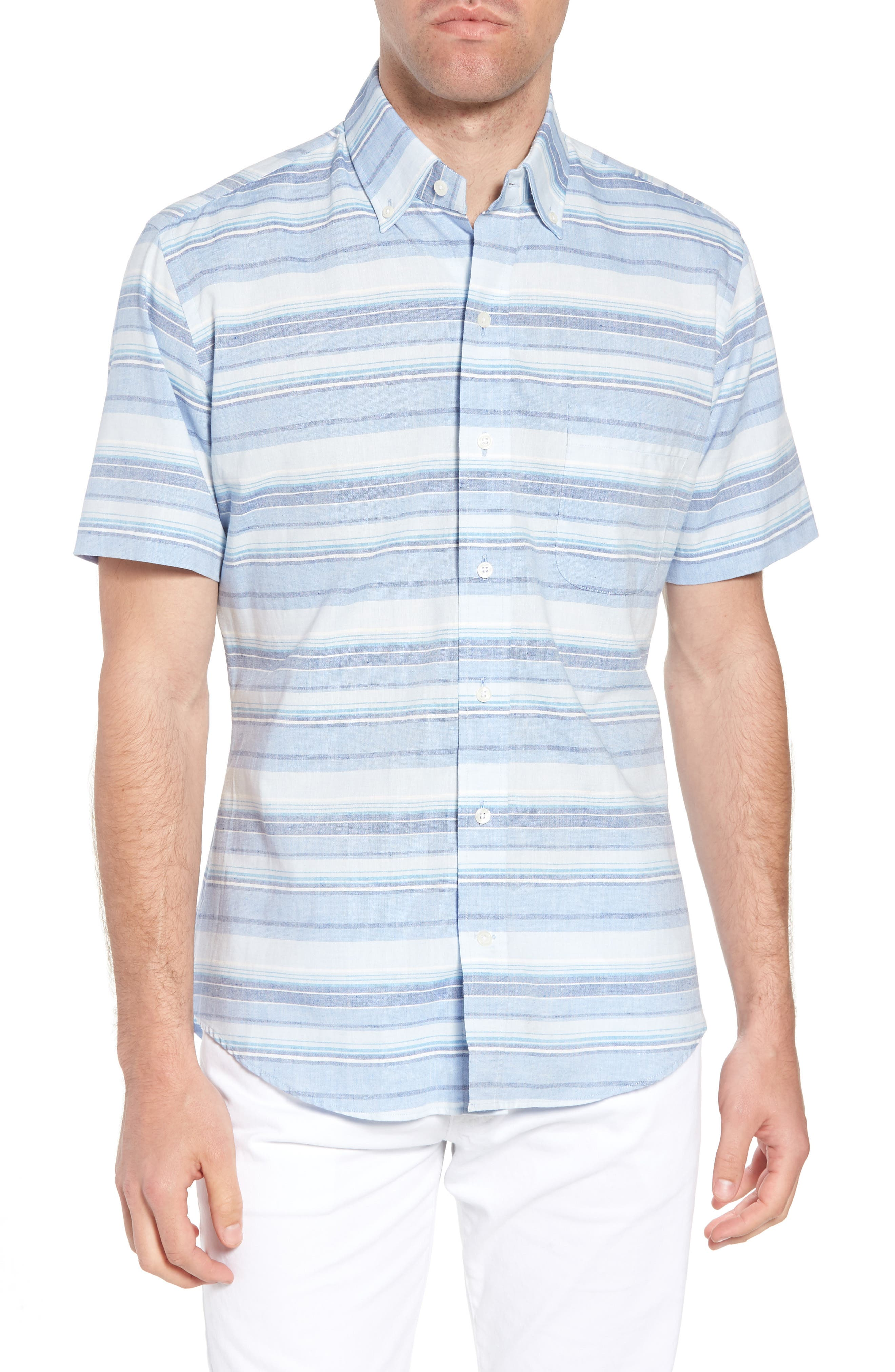 Ledbury Amberfield Stripe Classic Fit Cotton & Linen Sport Shirt