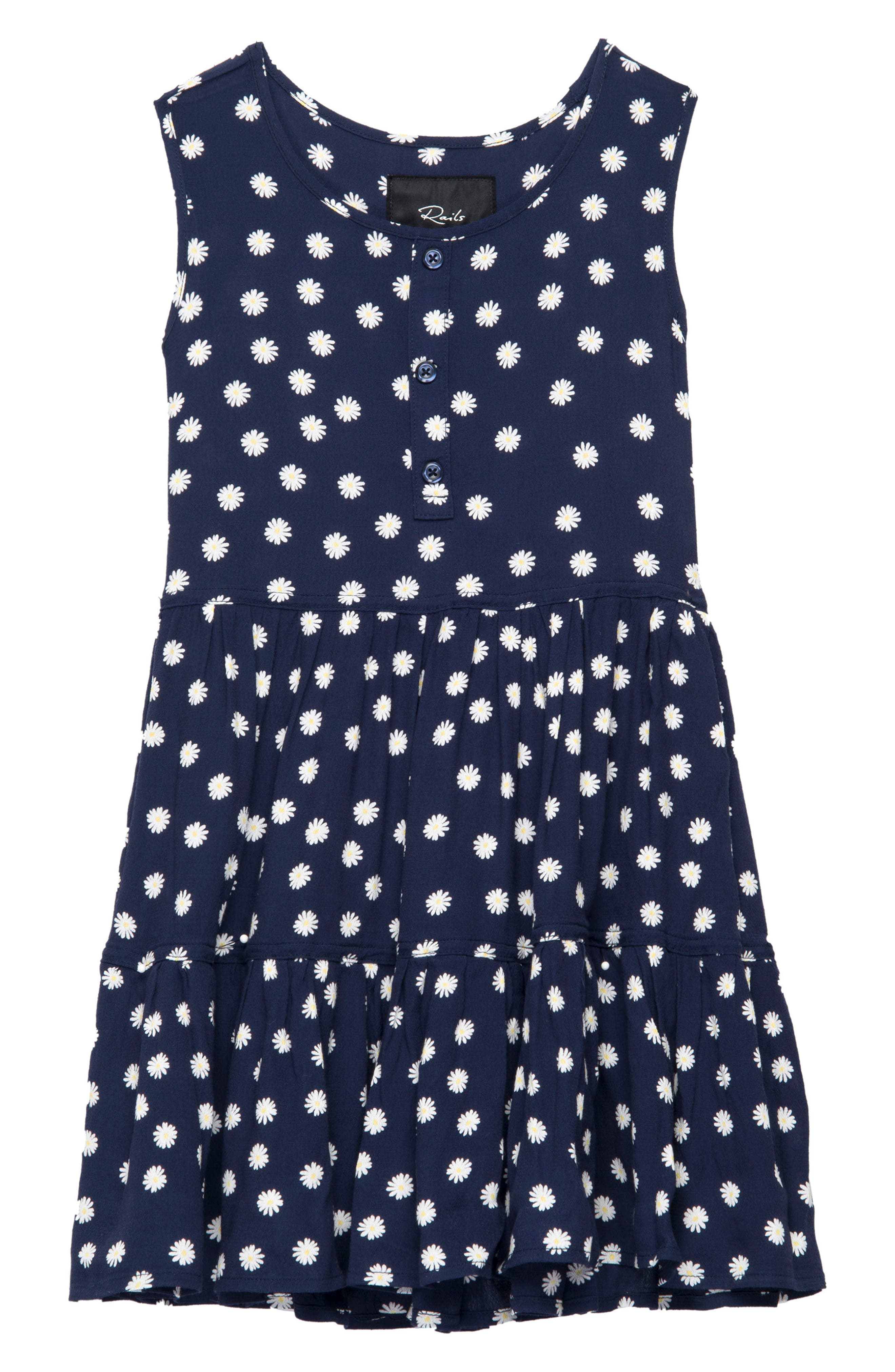 Katie Tiered Sundress,                         Main,                         color, Navy Daisies