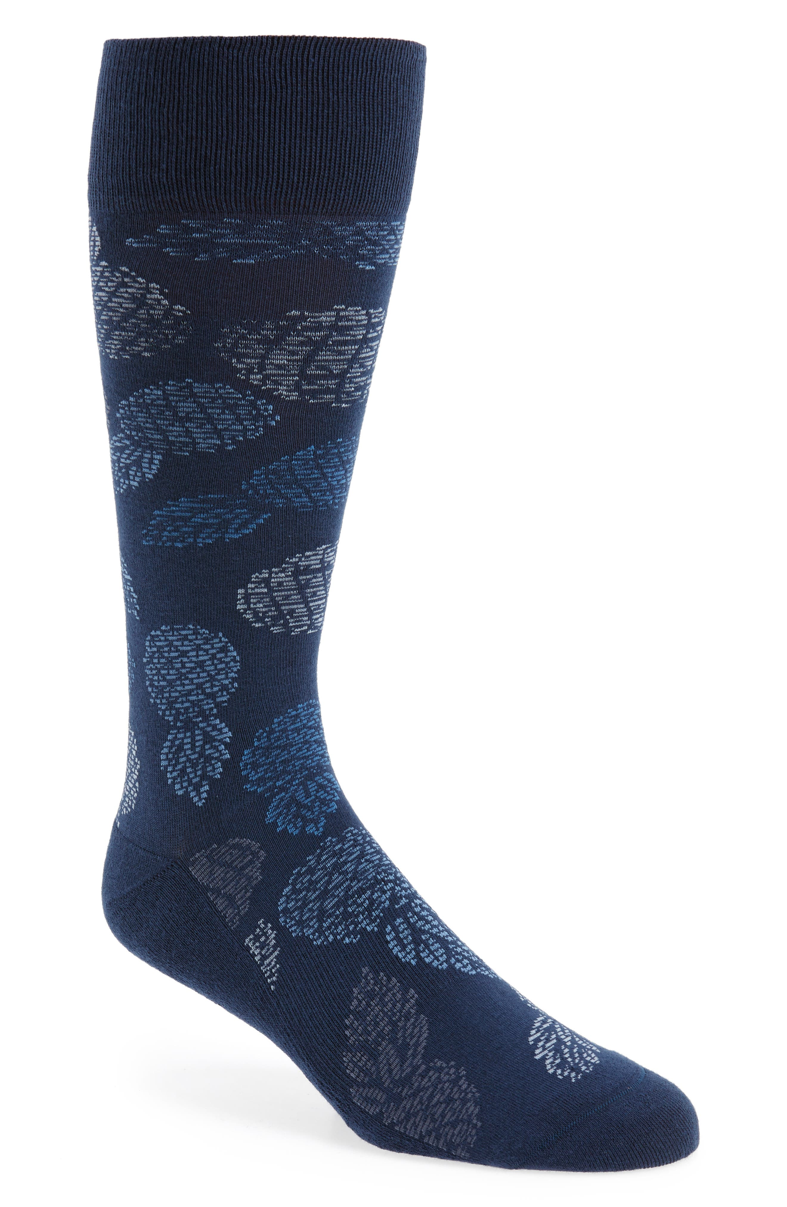 Pineapple Party Socks,                             Main thumbnail 1, color,                             Navy/ Blue
