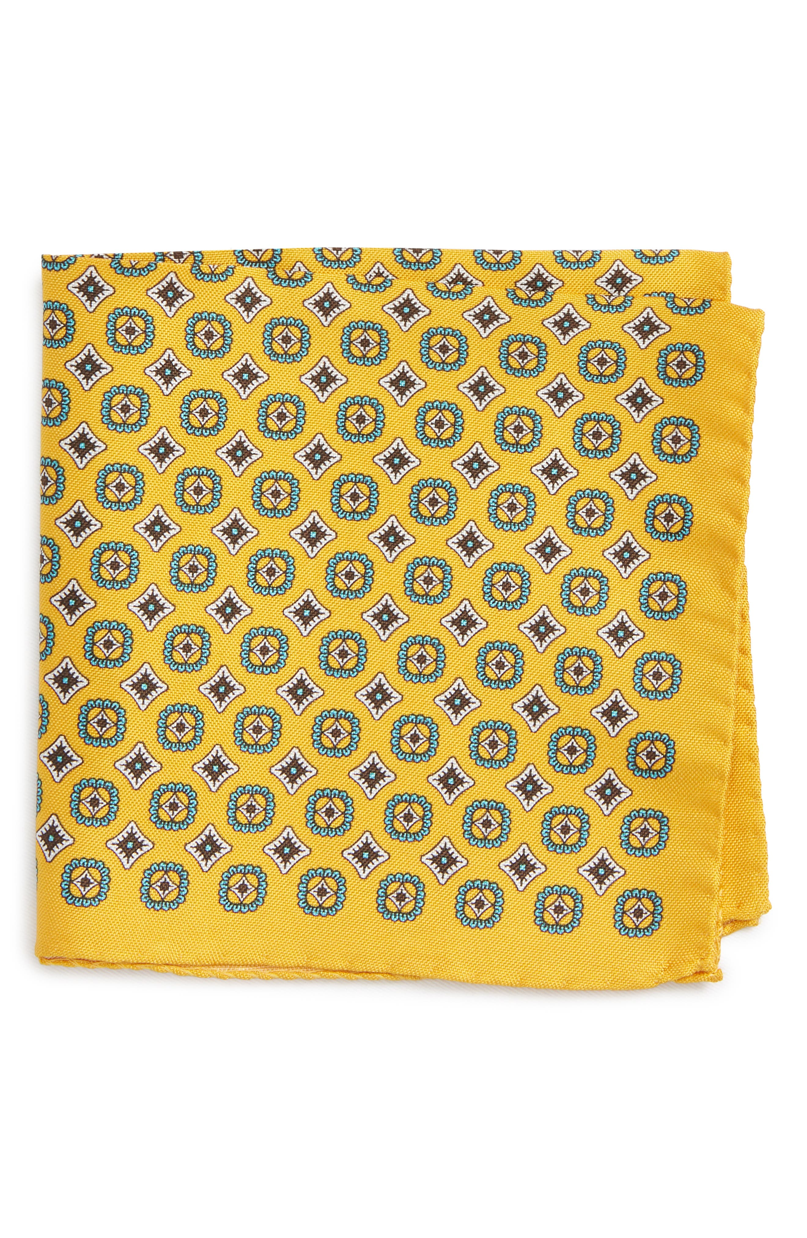 Medallion Silk Pocket Square,                             Main thumbnail 1, color,                             Yellow