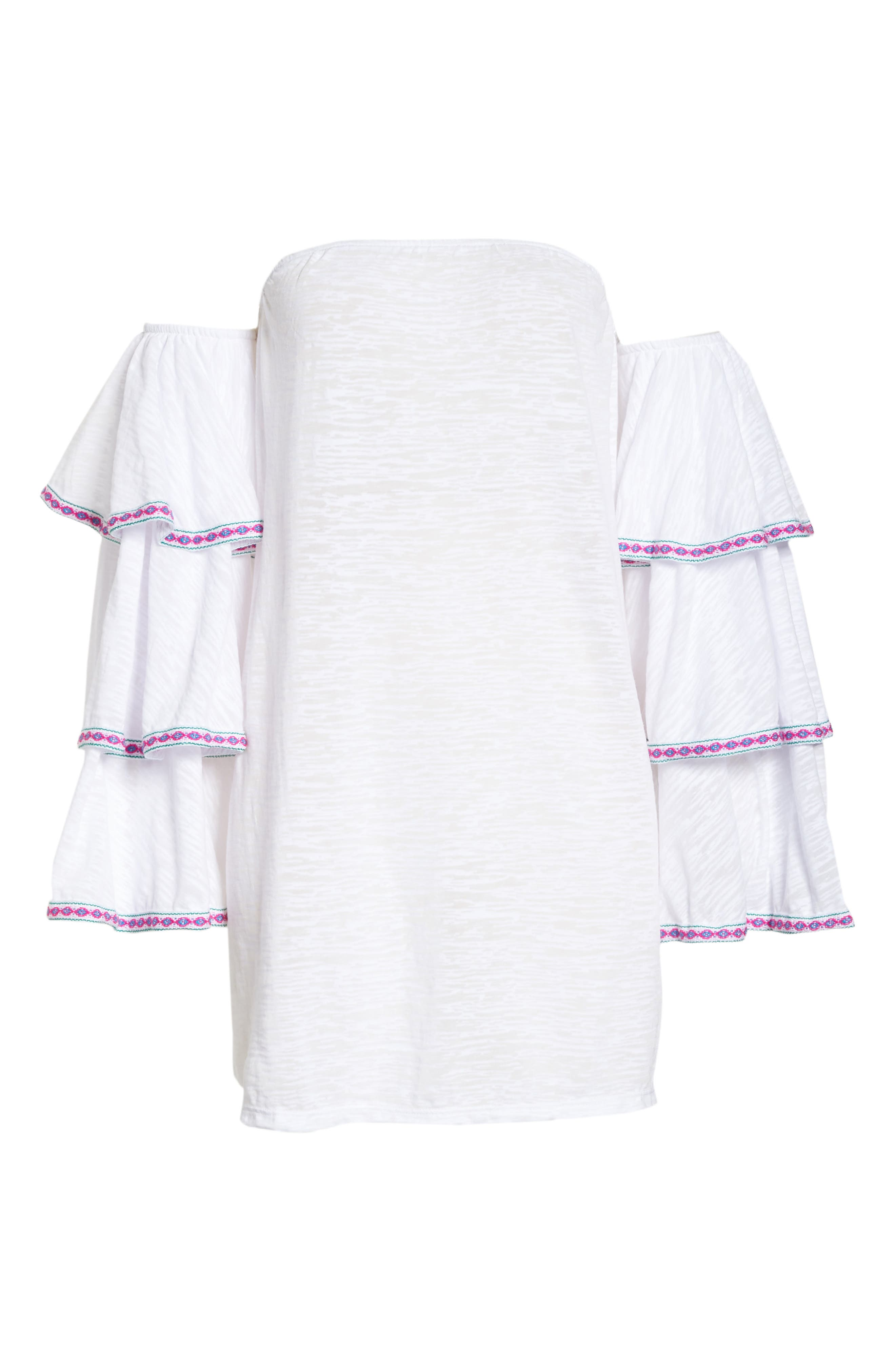 Off the Shoulder Cover-Up Dress,                             Alternate thumbnail 6, color,                             White