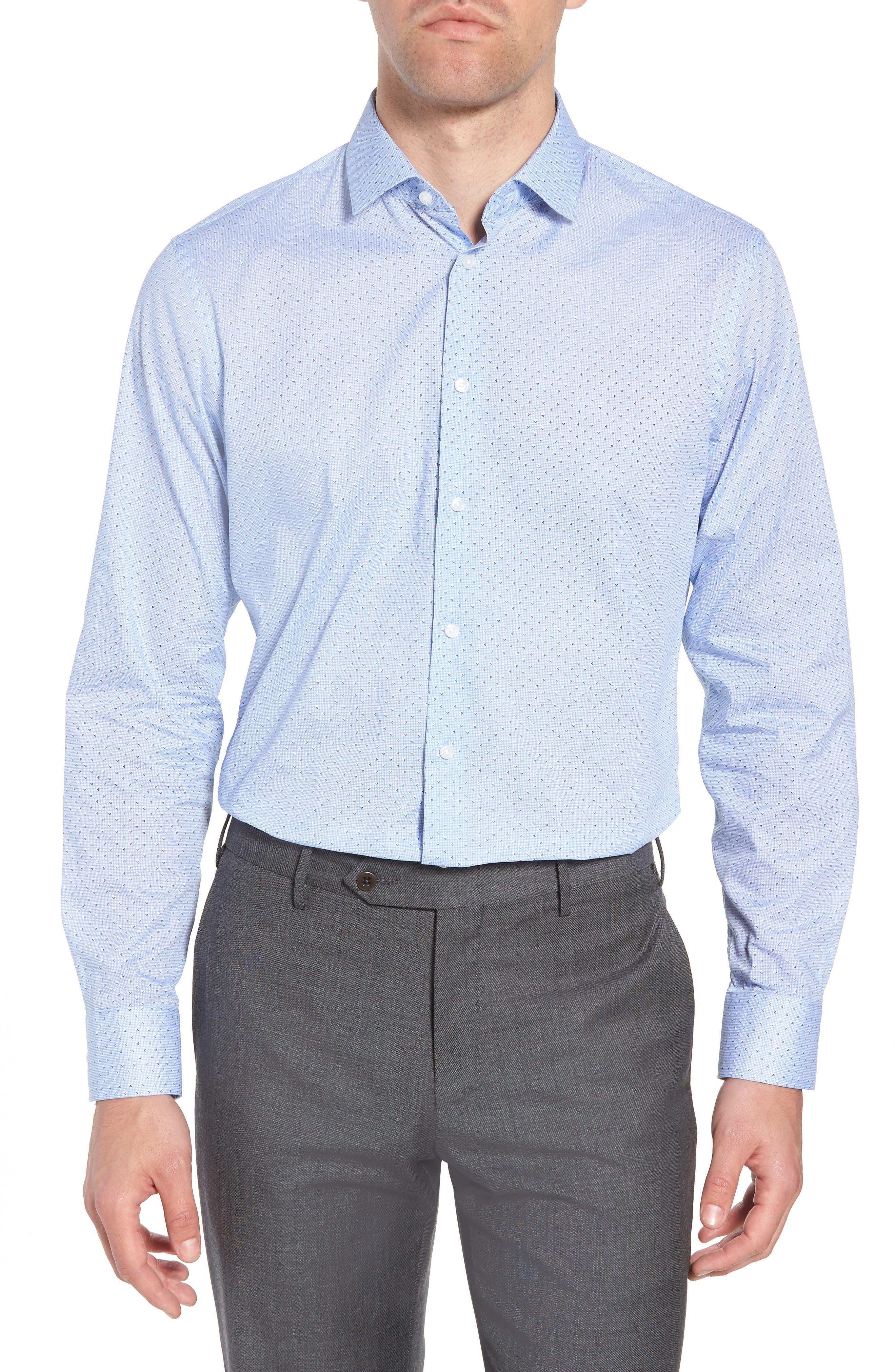 Trim Fit Print Dress Shirt,                             Main thumbnail 1, color,                             Blue Robbia