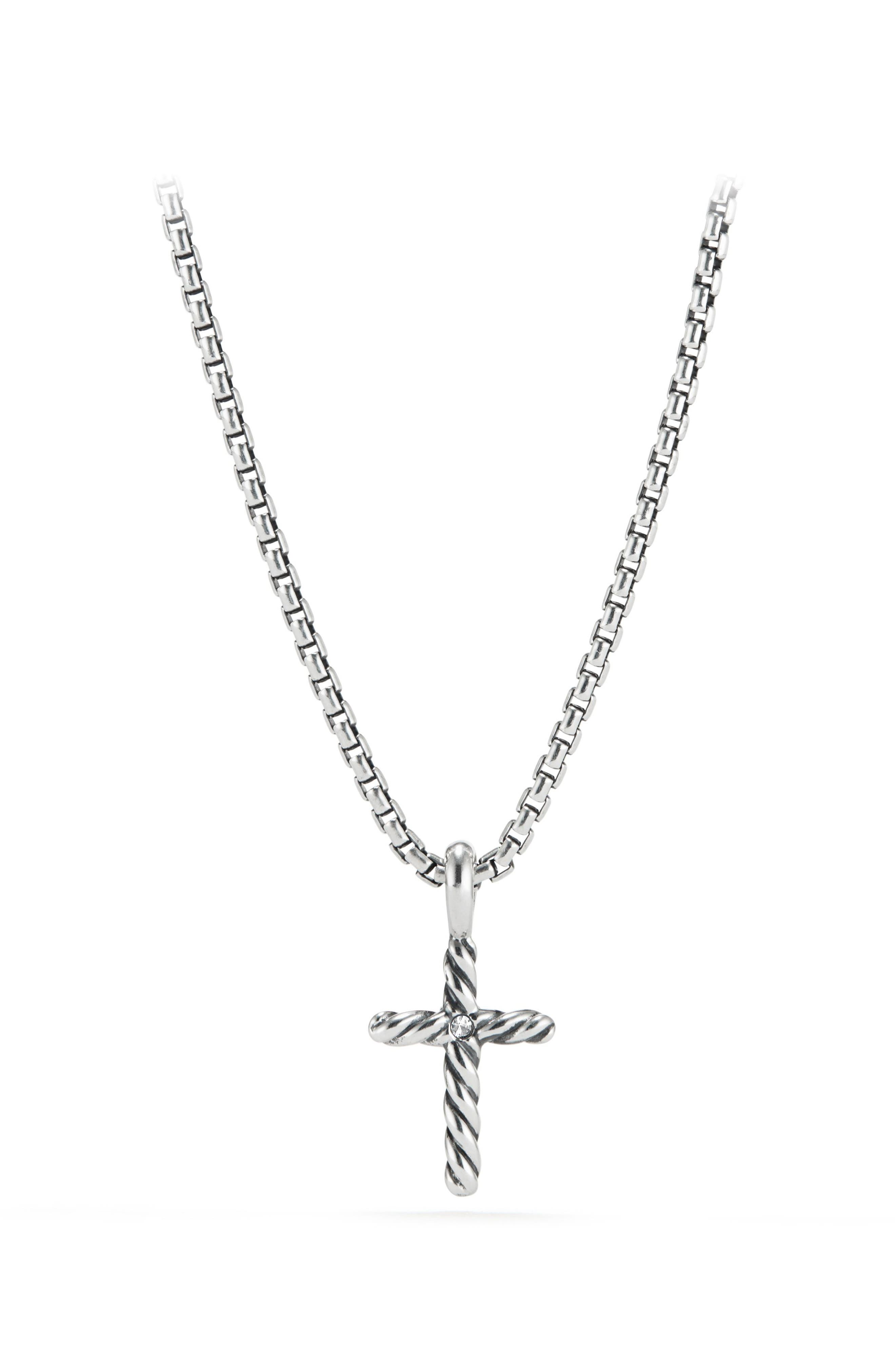 Cable Collectibles<sup>®</sup> Kids' Cross Necklace with Diamonds,                             Alternate thumbnail 2, color,                             Diamond
