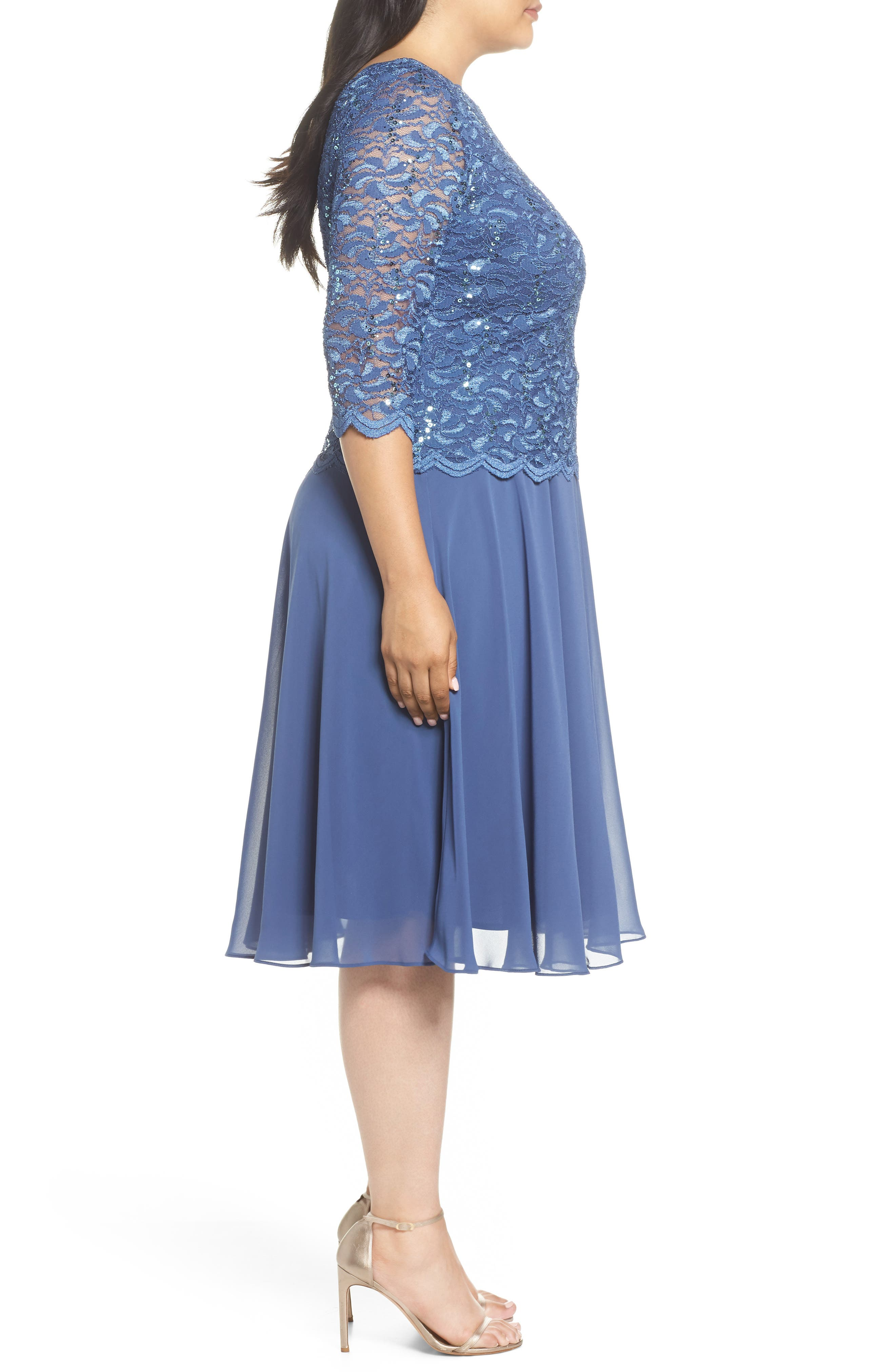 Mock Two-Piece Tea Length Dress,                             Alternate thumbnail 3, color,                             Wedgewood