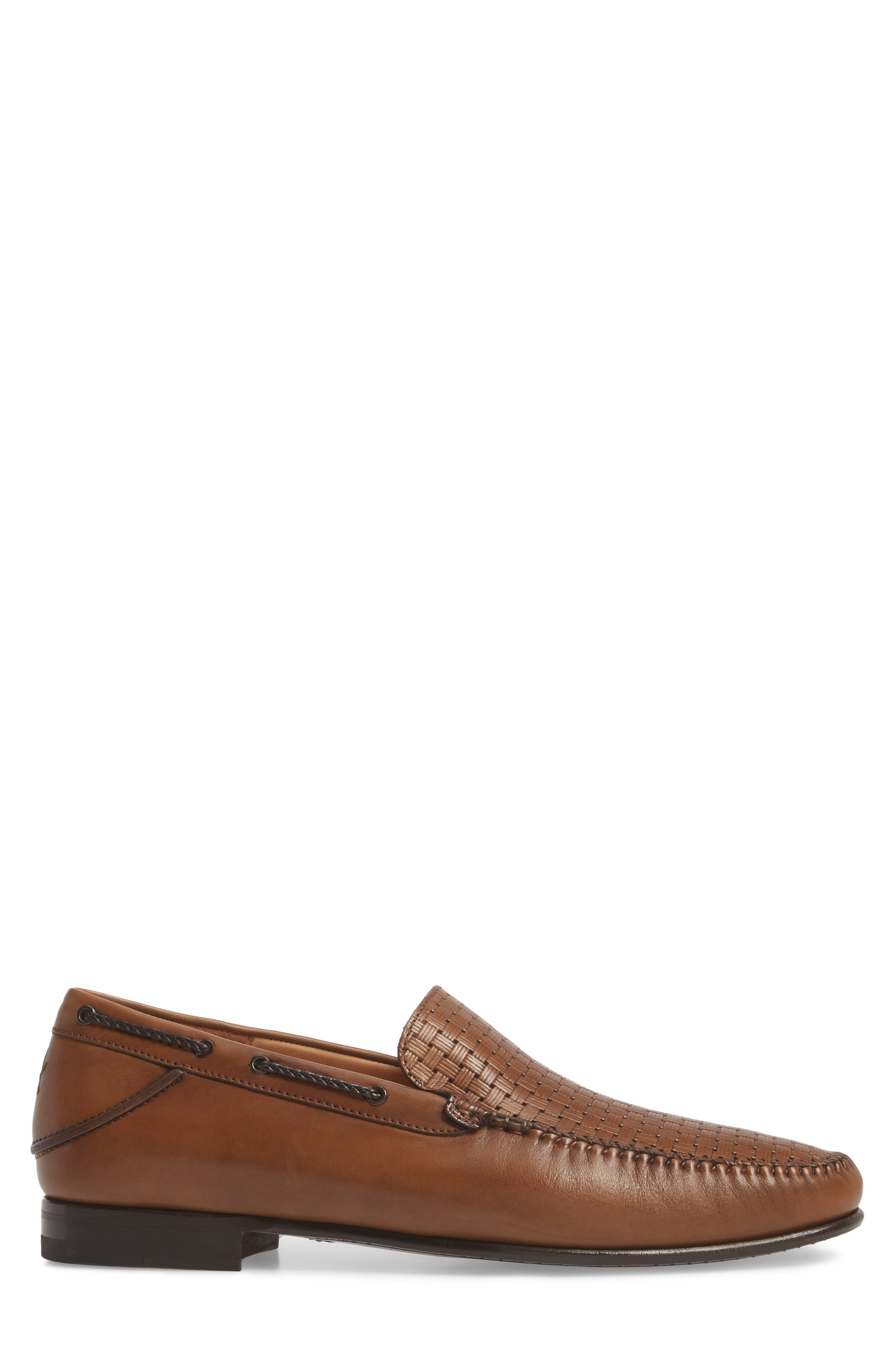 Jano Embossed Moc-Toe Loafer,                             Alternate thumbnail 3, color,                             Cognac Leather