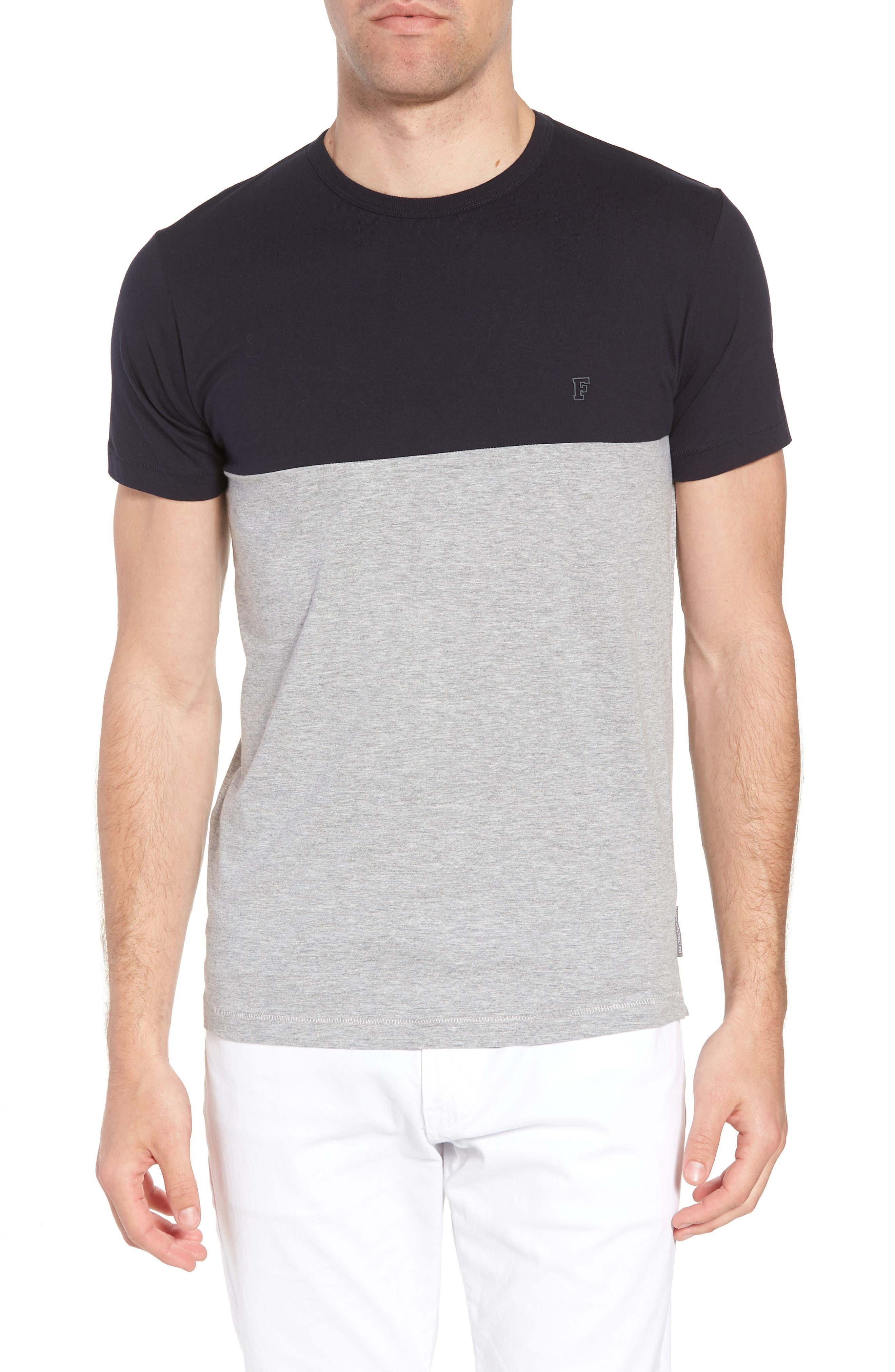 Block Crewneck T-Shirt,                             Main thumbnail 1, color,                             Marine Blue Light Grey