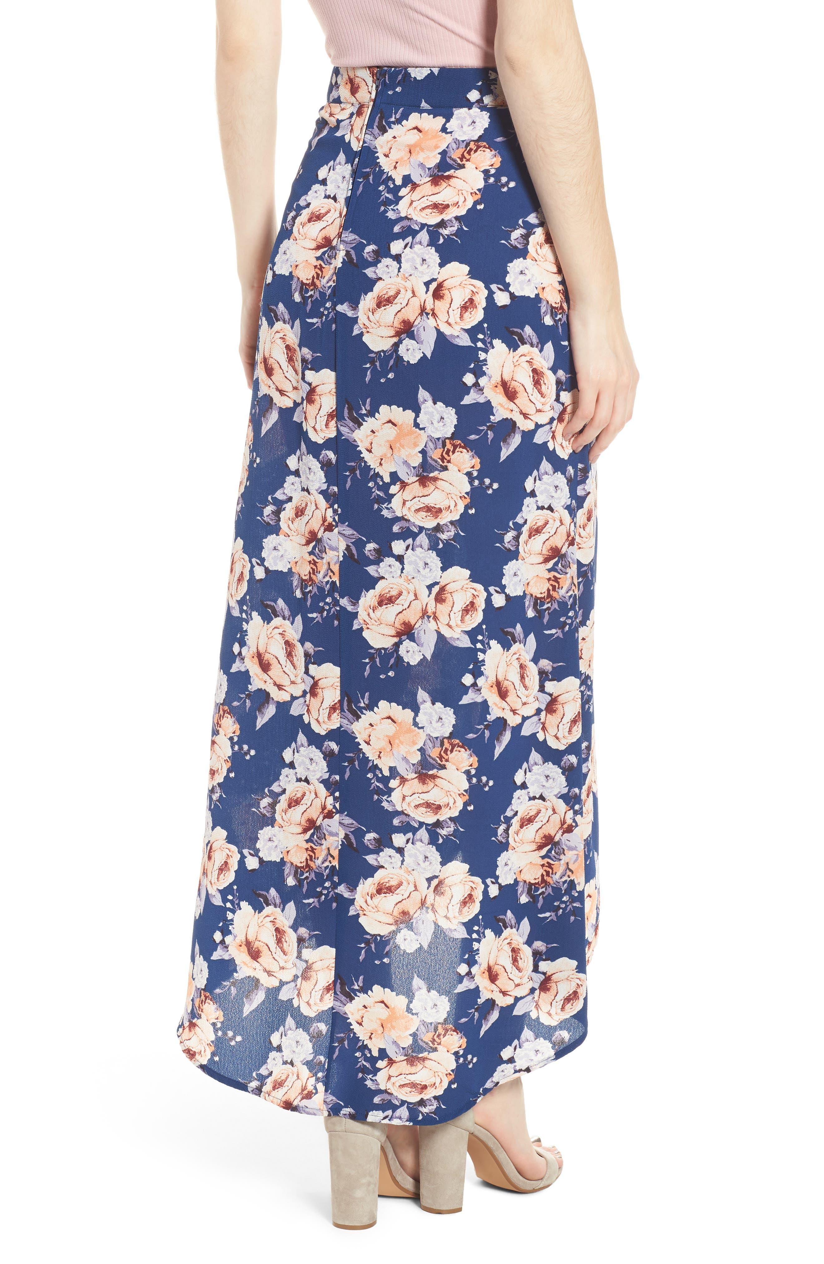 Floral Print Maxi Skirt,                             Alternate thumbnail 2, color,                             Blue Floral