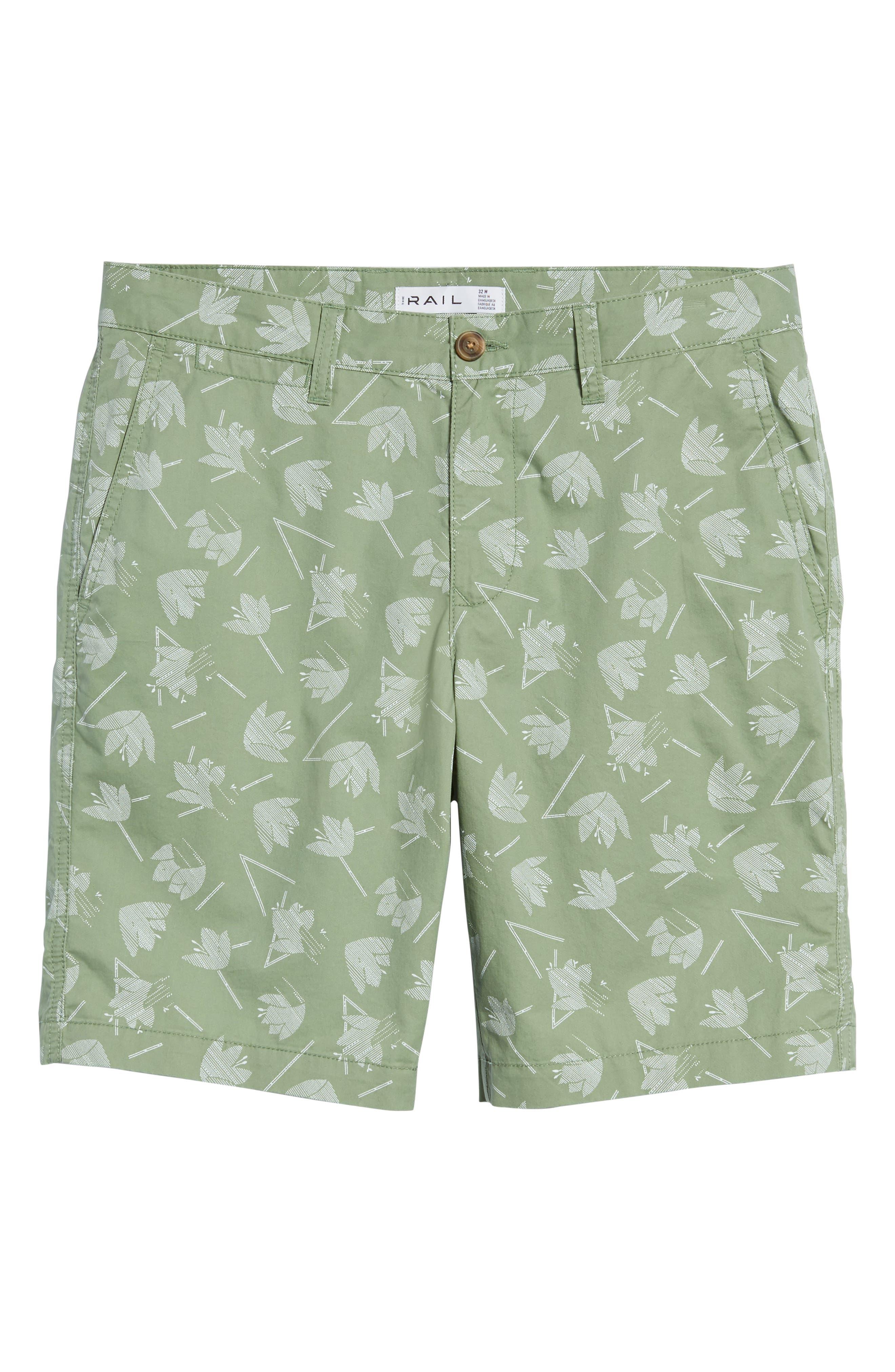 Deco Floral Print Shorts,                             Alternate thumbnail 6, color,                             Green Hedge Deco Floral