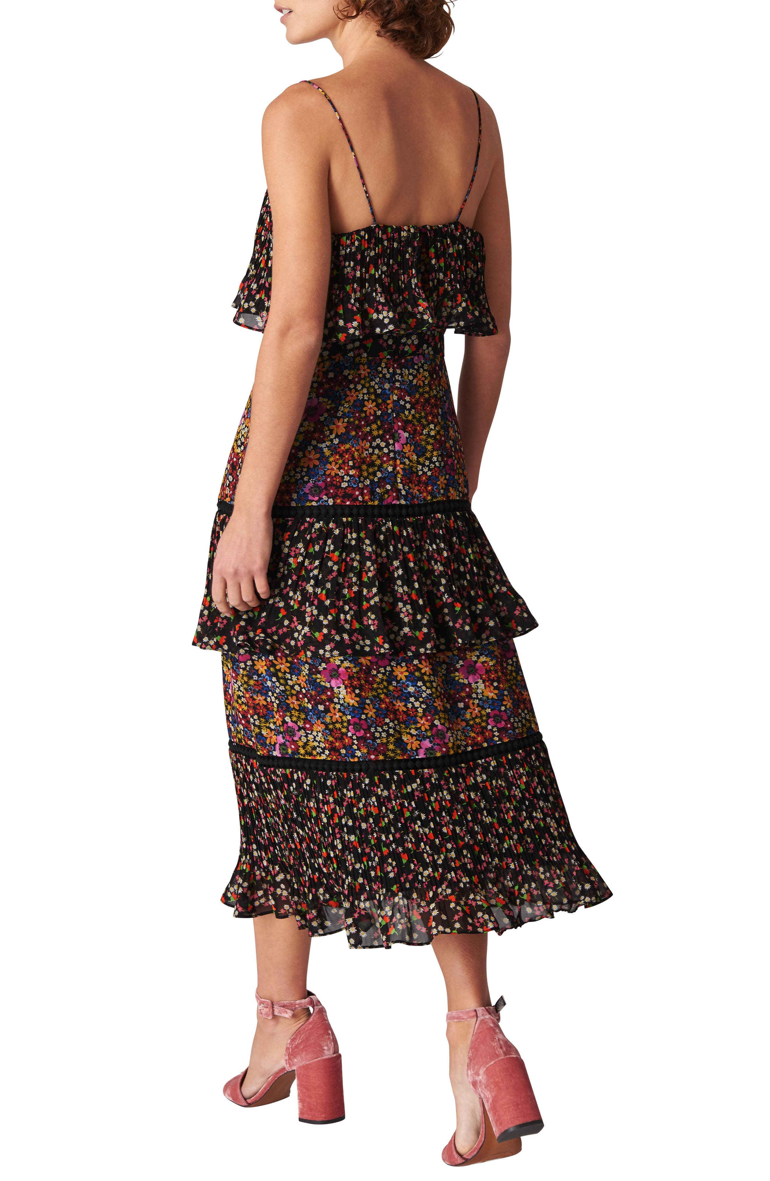 Skylar Peony Print Tiered Dress,                             Alternate thumbnail 2, color,                             Black/ Multi