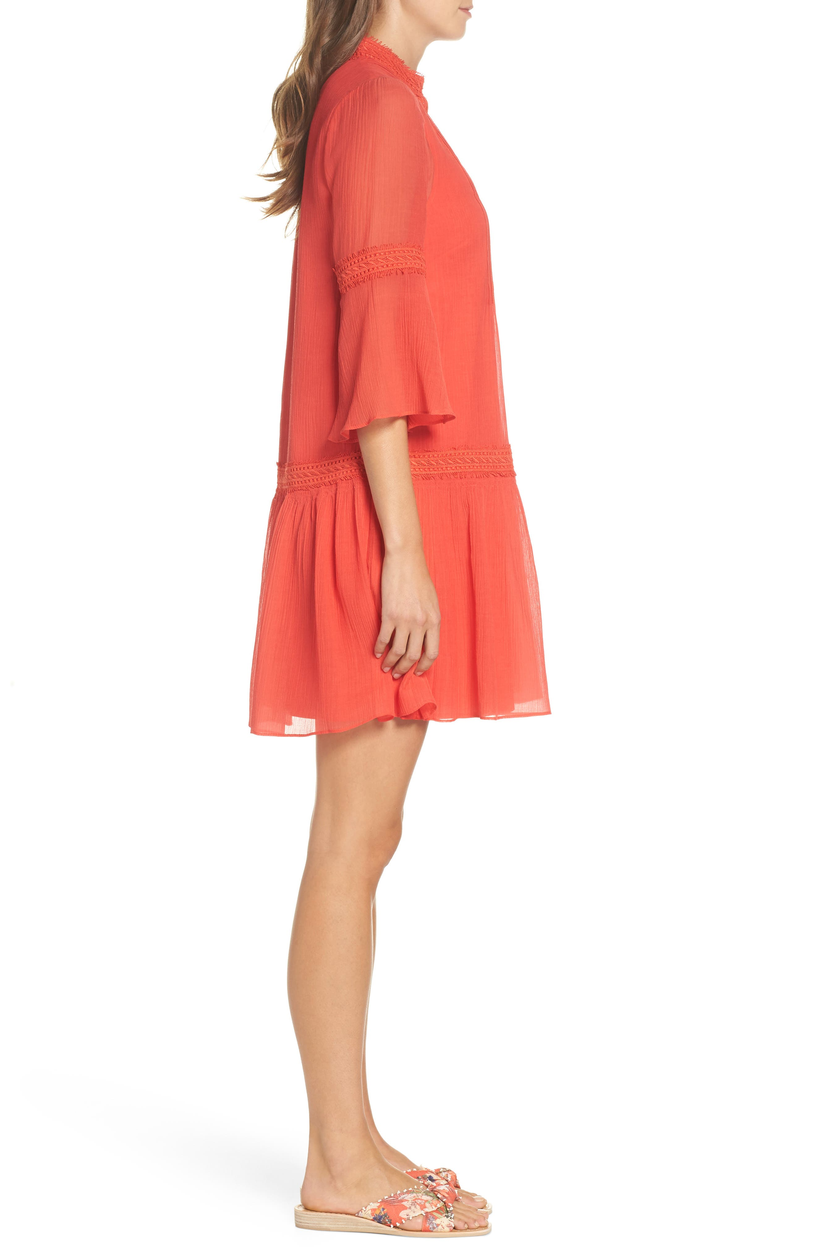 Mala Crinkle Shift Dress,                             Alternate thumbnail 3, color,                             Strawberry