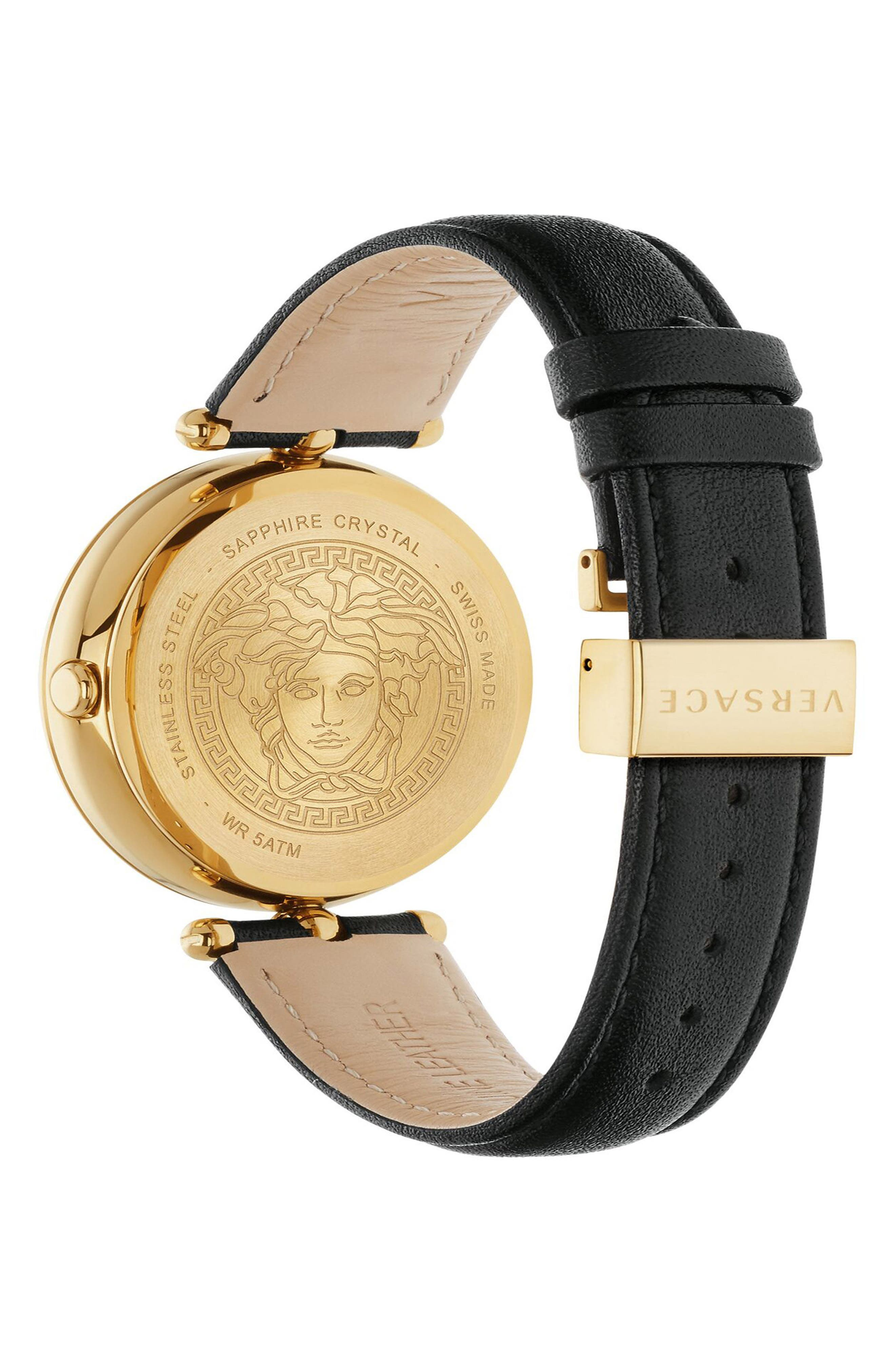 Palazzo Empire Leather Strap Watch, 39mm,                             Alternate thumbnail 2, color,                             Black/ Gold