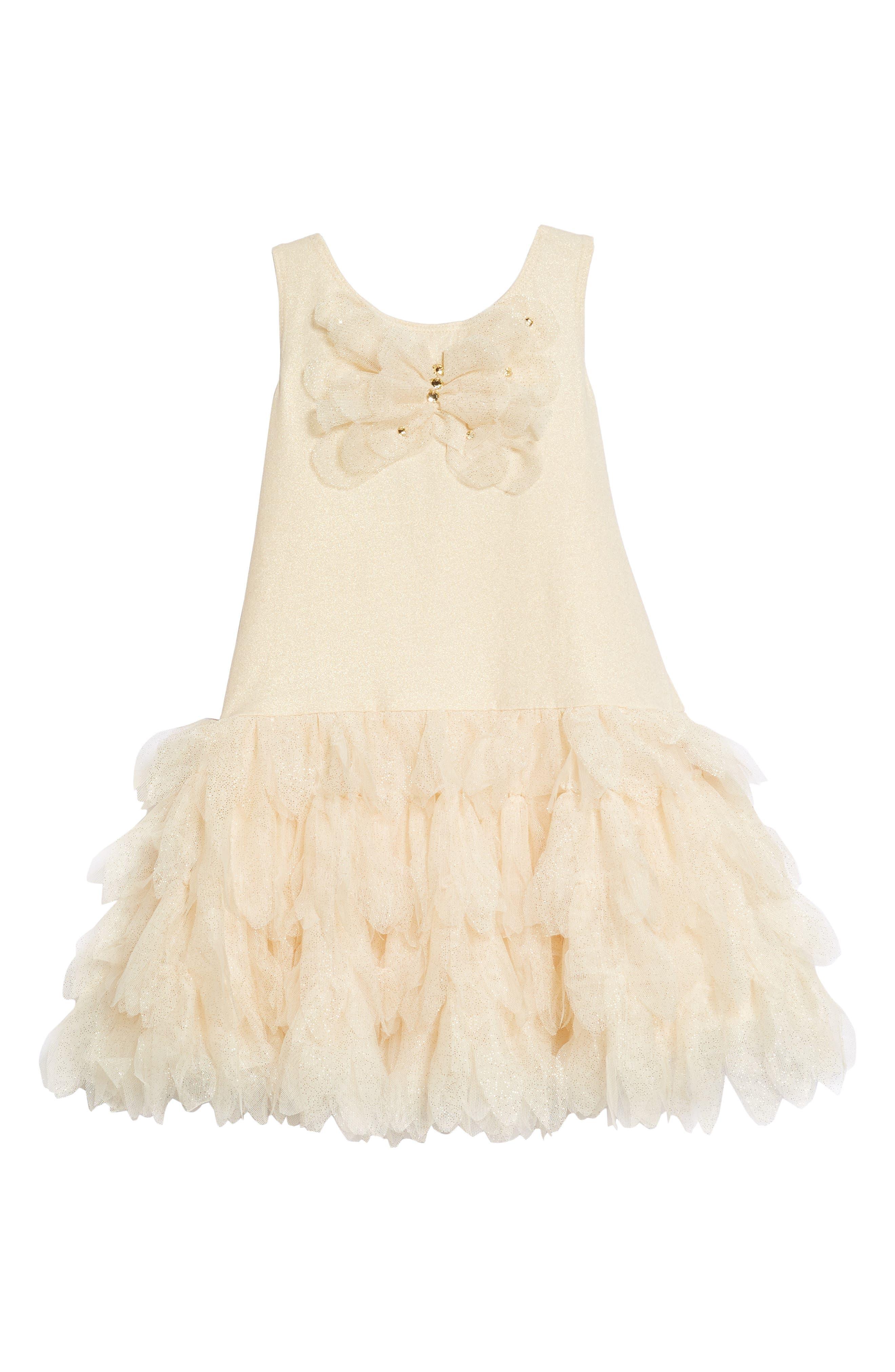 Sleeveless Tulle Dress,                             Main thumbnail 1, color,                             Gold
