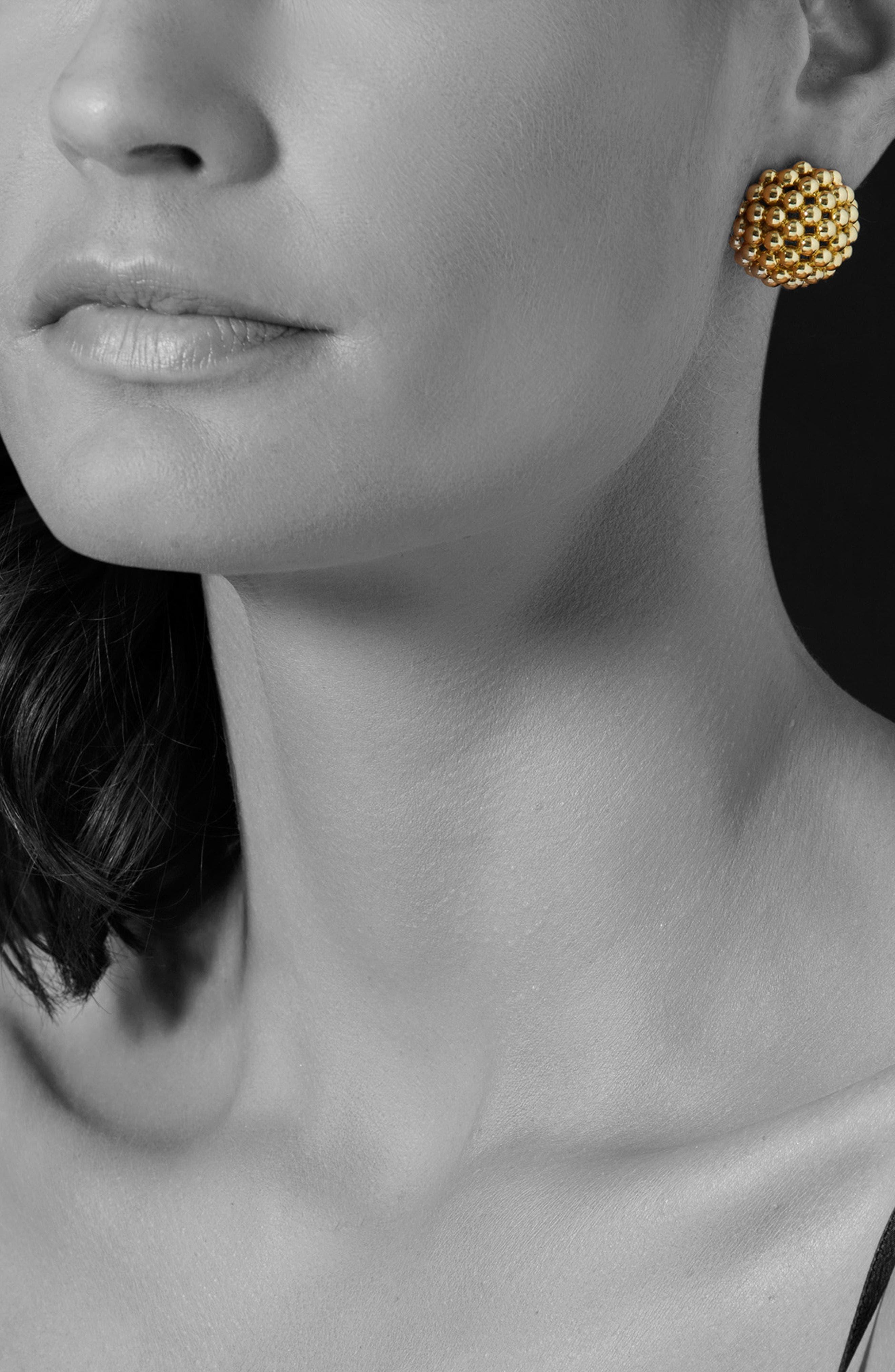 Caviar Gold Dome Omega Earrings,                             Alternate thumbnail 2, color,                             Gold