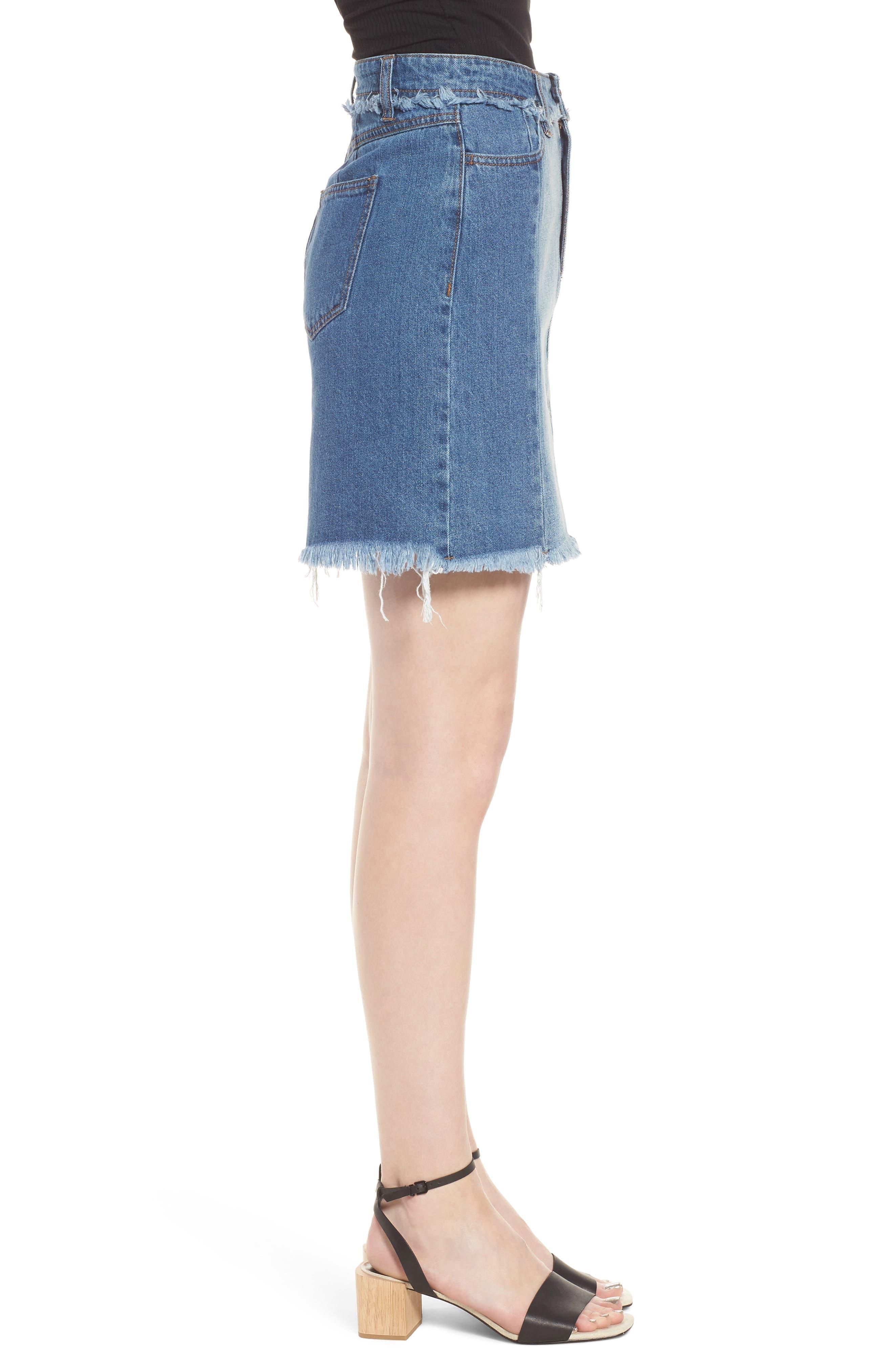 Color Block Denim Skirt,                             Alternate thumbnail 3, color,                             Med Wash