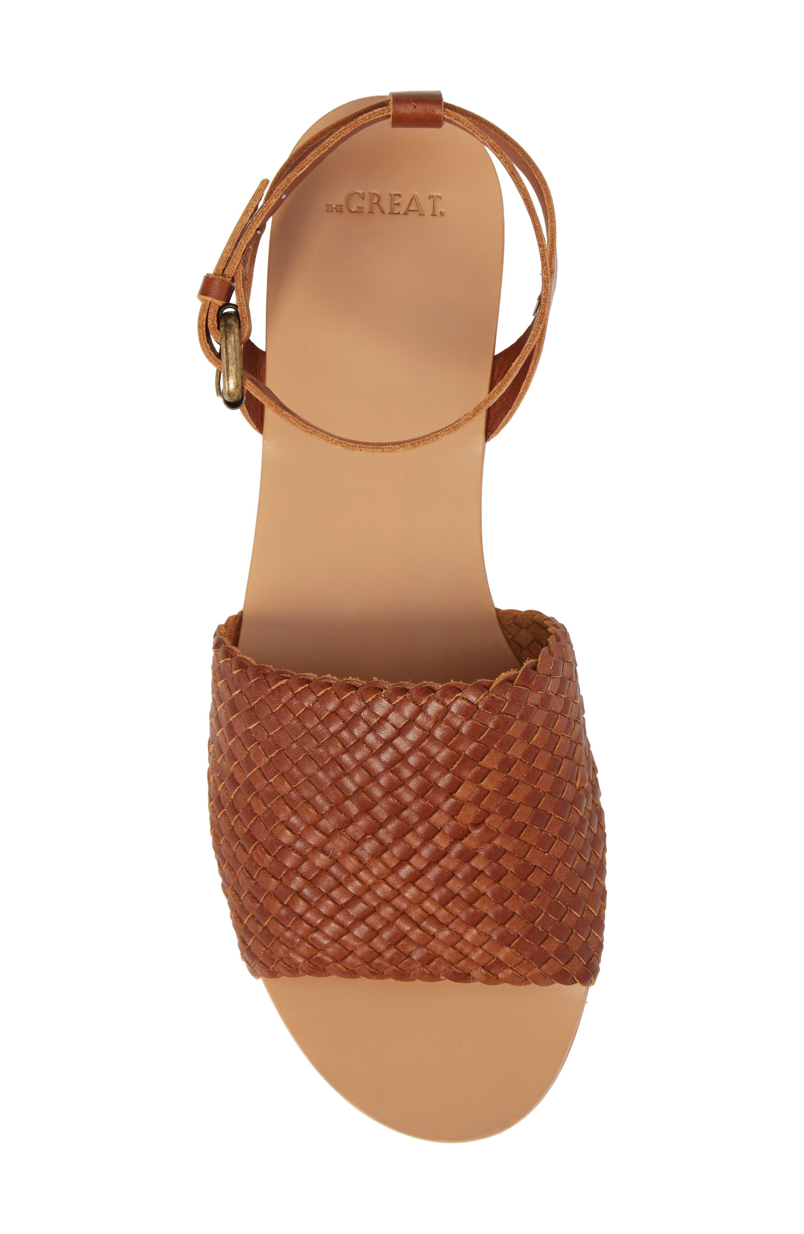 The Great Caravan Ankle Strap Sandal,                             Alternate thumbnail 5, color,                             Cognac