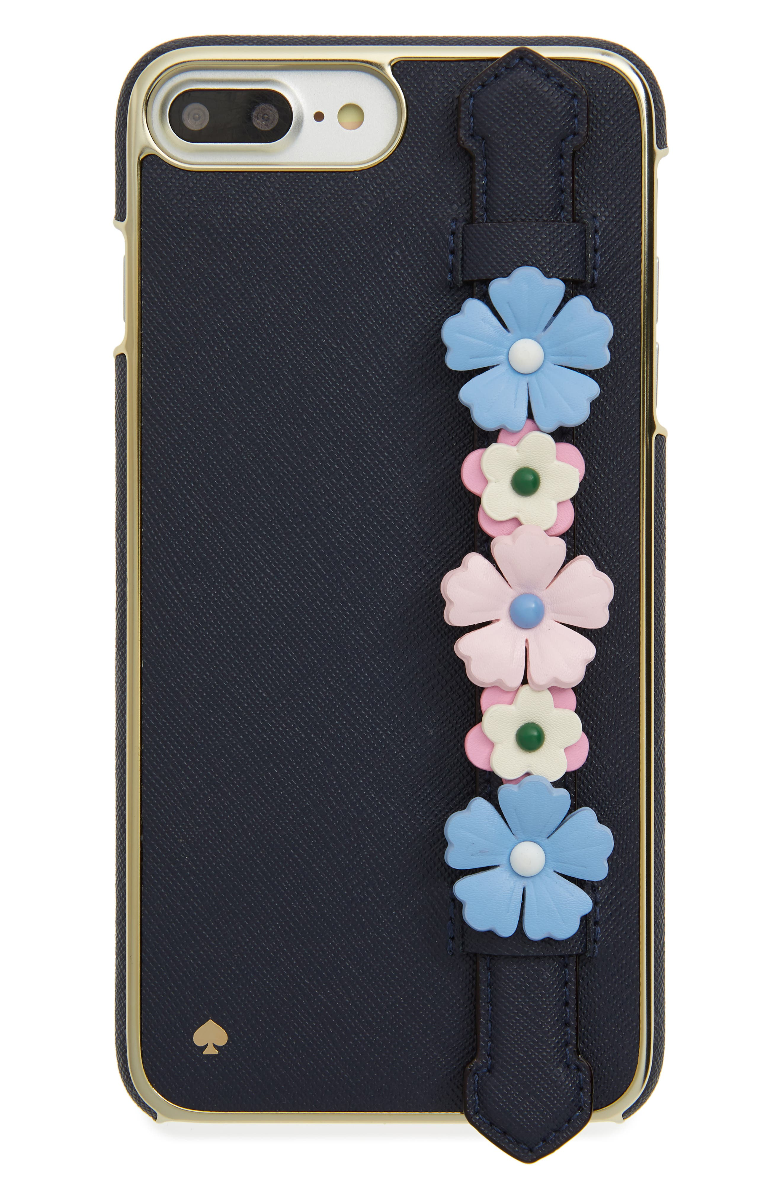 floral hand strap stand iPhone 7/8 Plus case,                             Main thumbnail 1, color,                             Black Multi