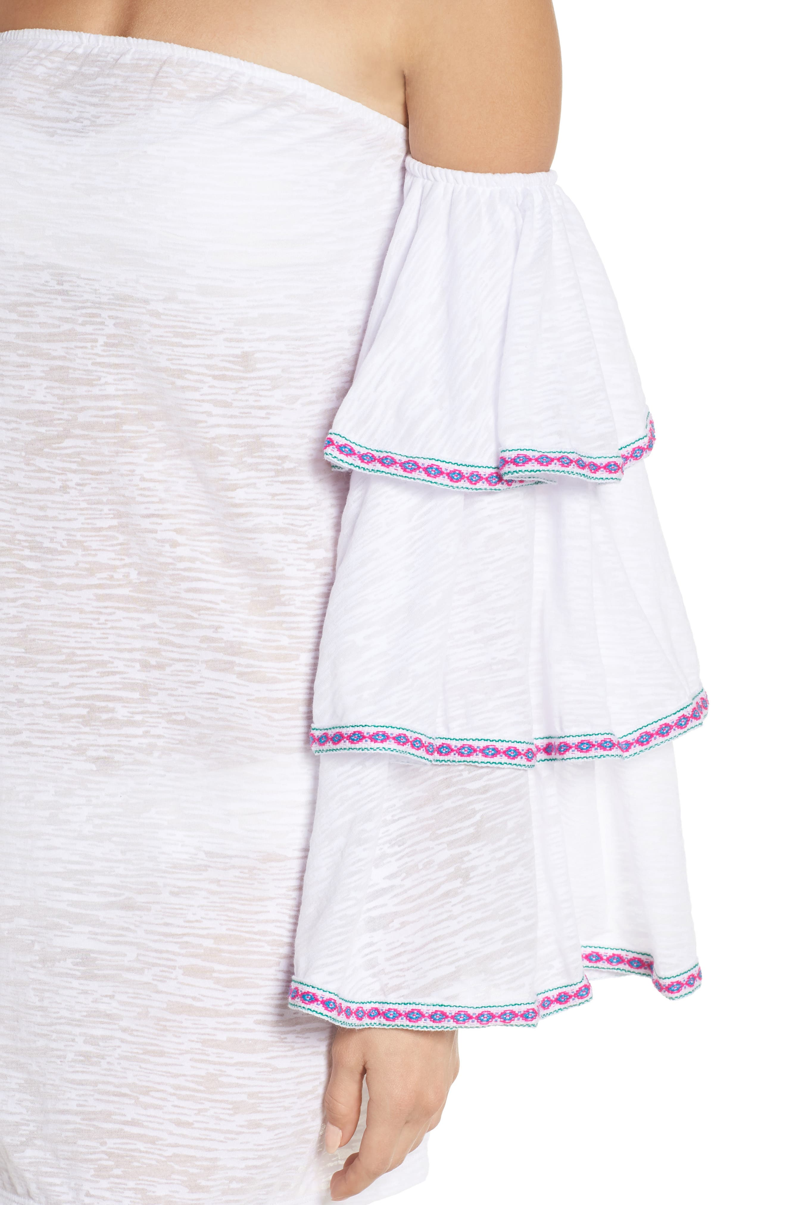Off the Shoulder Cover-Up Dress,                             Alternate thumbnail 4, color,                             White