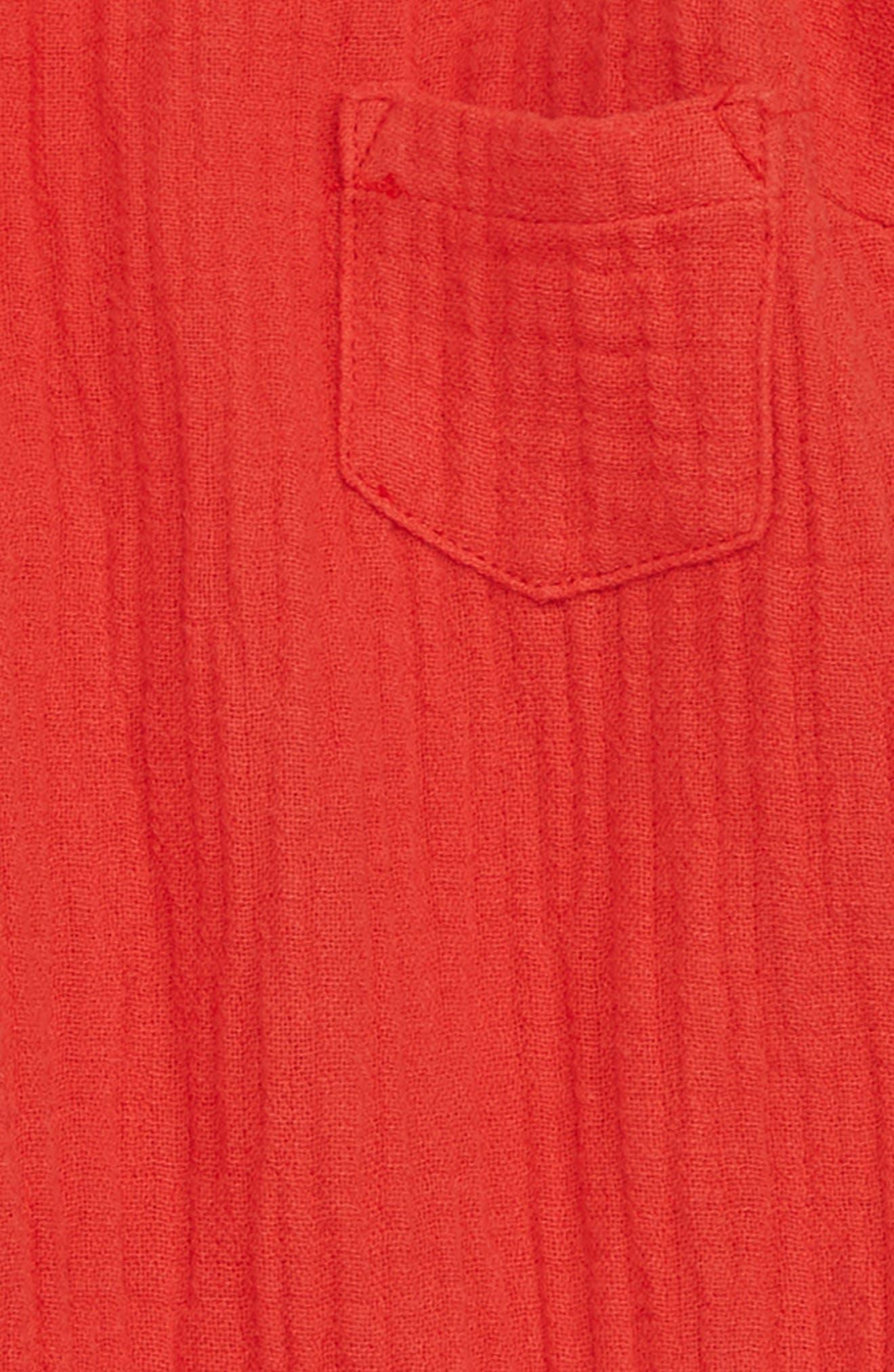 Linen Blend Romper,                             Alternate thumbnail 3, color,                             All Fired Up