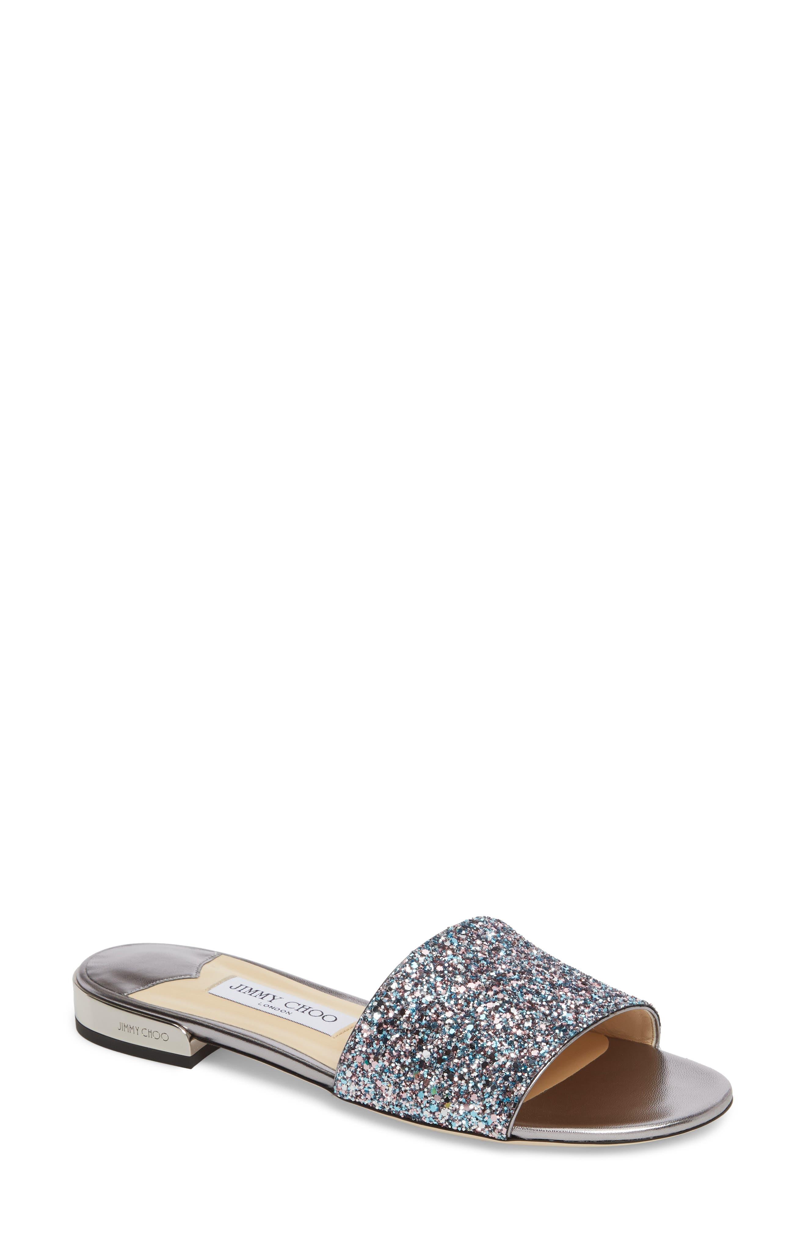 Joni Embellished Slide Sandal,                             Main thumbnail 1, color,                             Blush Silver