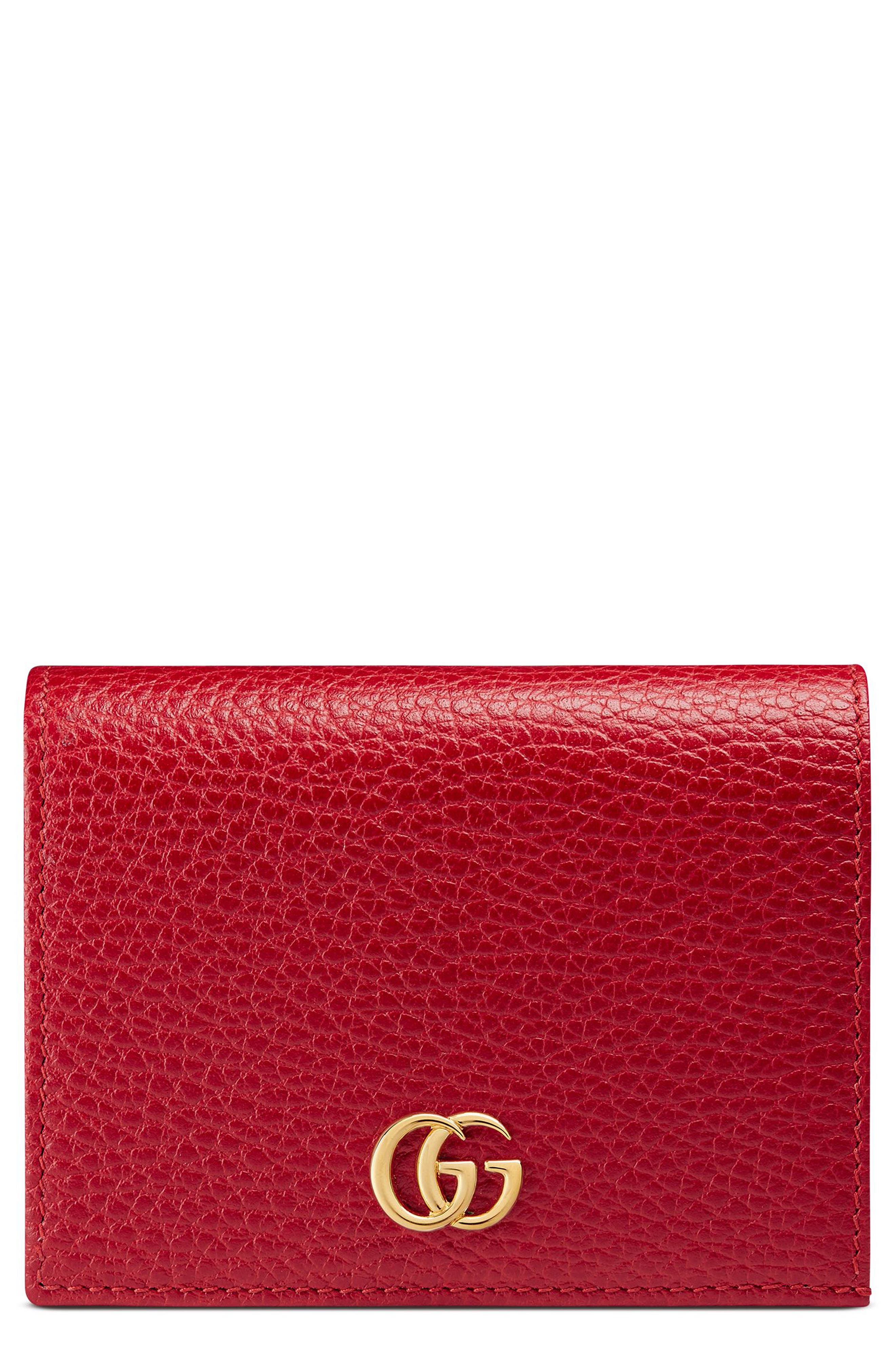 Petite Marmont Leather Card Case,                         Main,                         color, Hibiscus Red