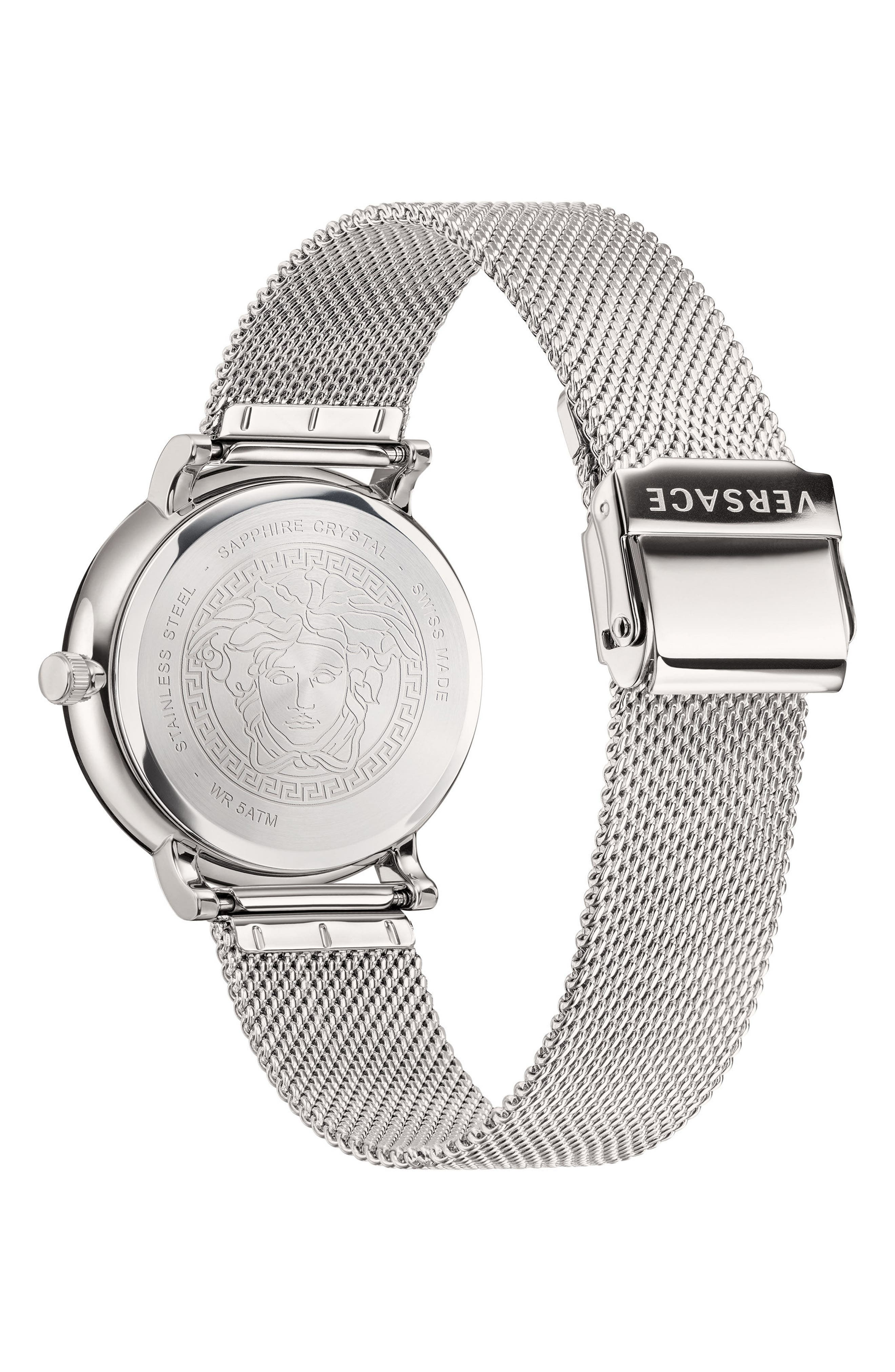Manifesto Mesh Strap Watch, 42mm,                             Alternate thumbnail 3, color,                             Silver