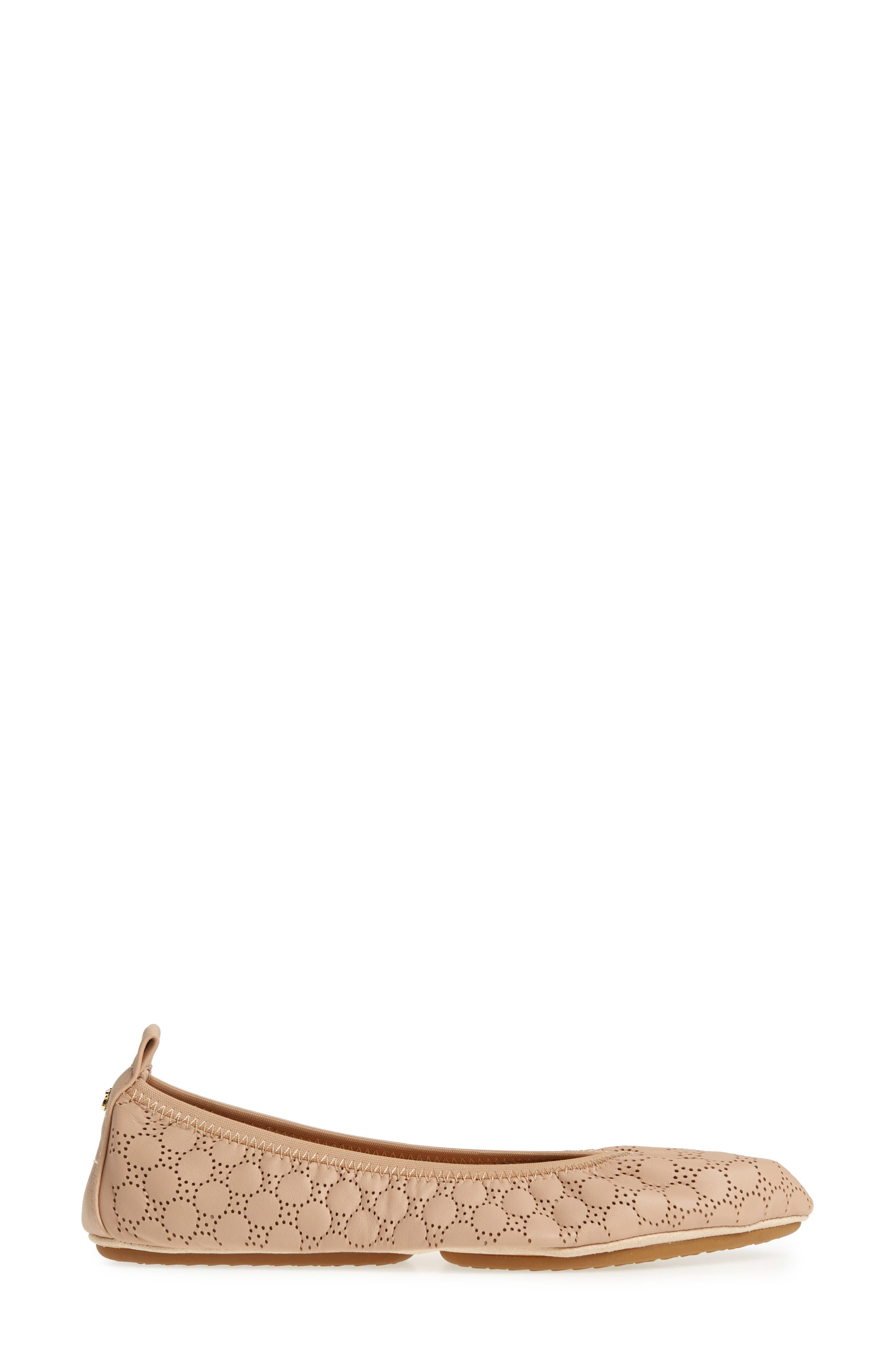 Vince Foldable Ballet Flat,                             Alternate thumbnail 3, color,                             Nude Circle Perforated Leather