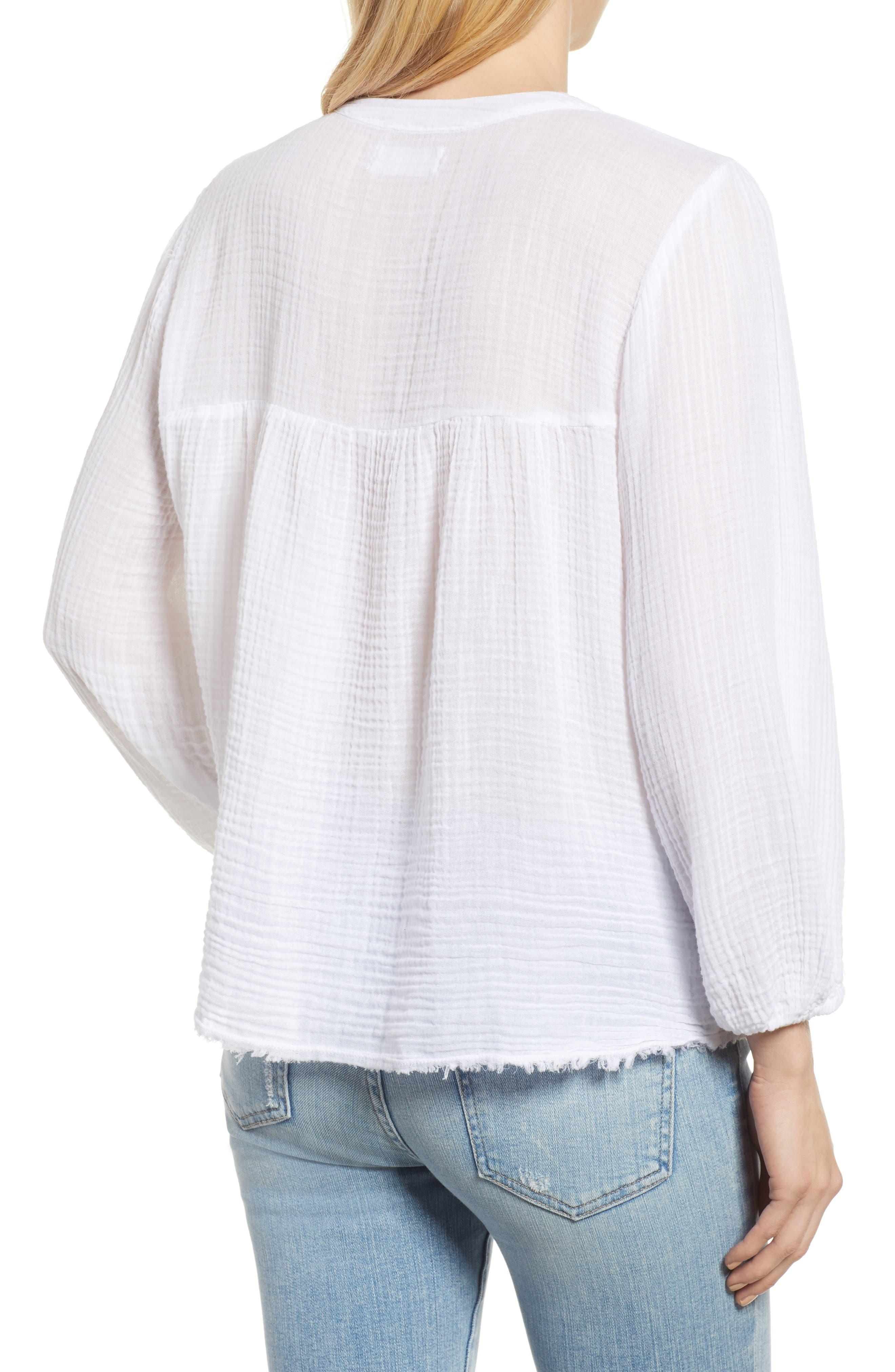 Cotton Gauze Peasant Top,                             Alternate thumbnail 2, color,                             White