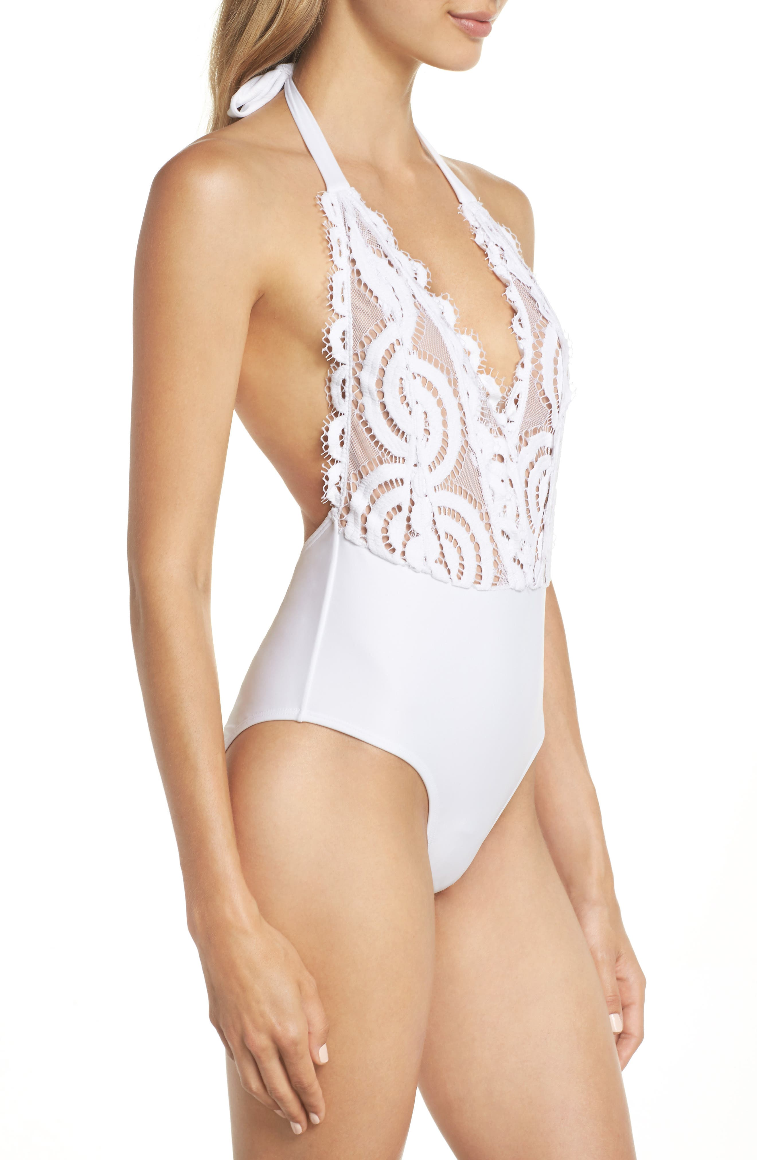 Lace Halter One-Piece Swimsuit,                             Alternate thumbnail 3, color,                             Water Lily