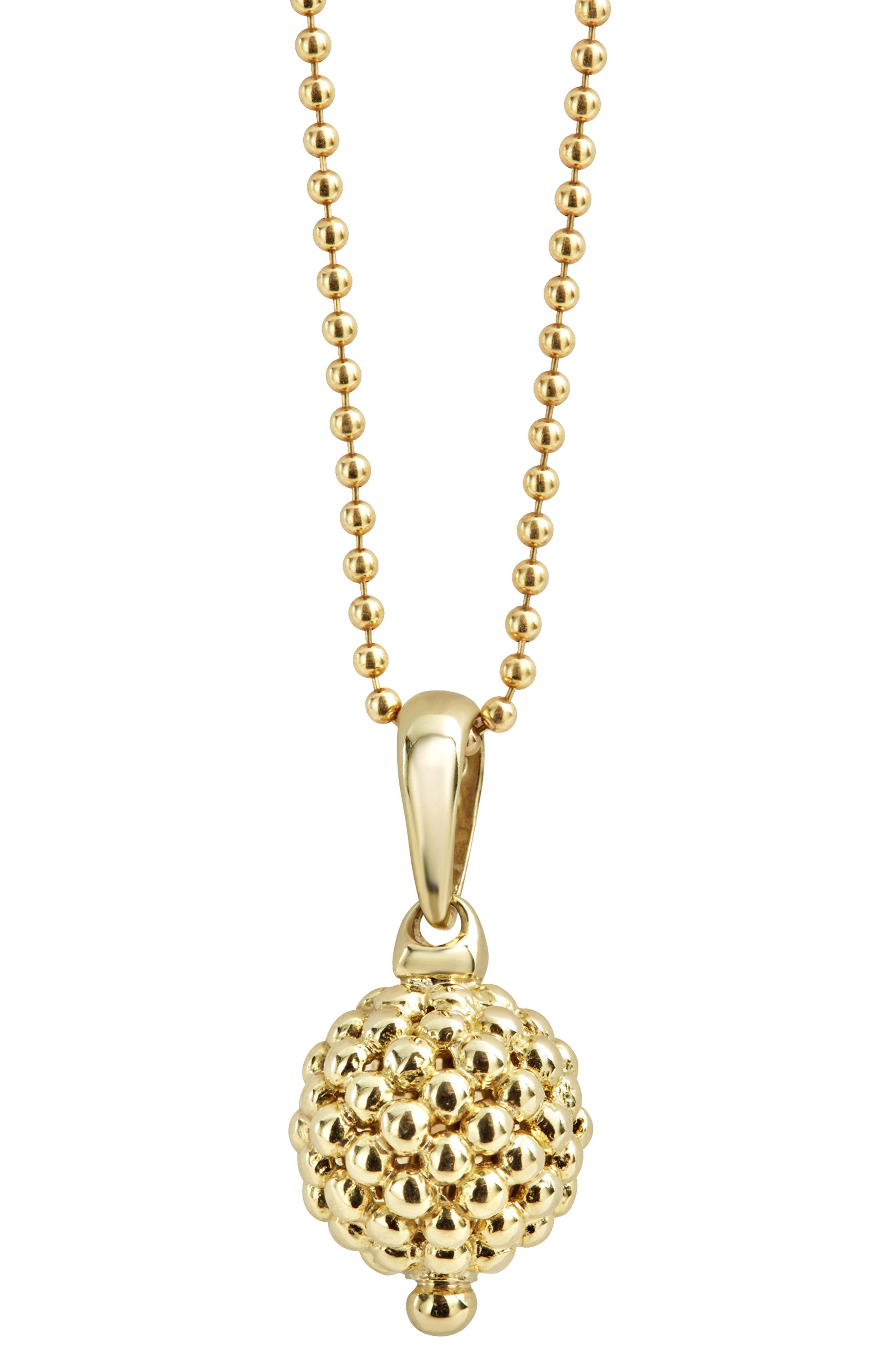 Caviar Gold Ball Pendant Necklace,                             Alternate thumbnail 5, color,                             Gold