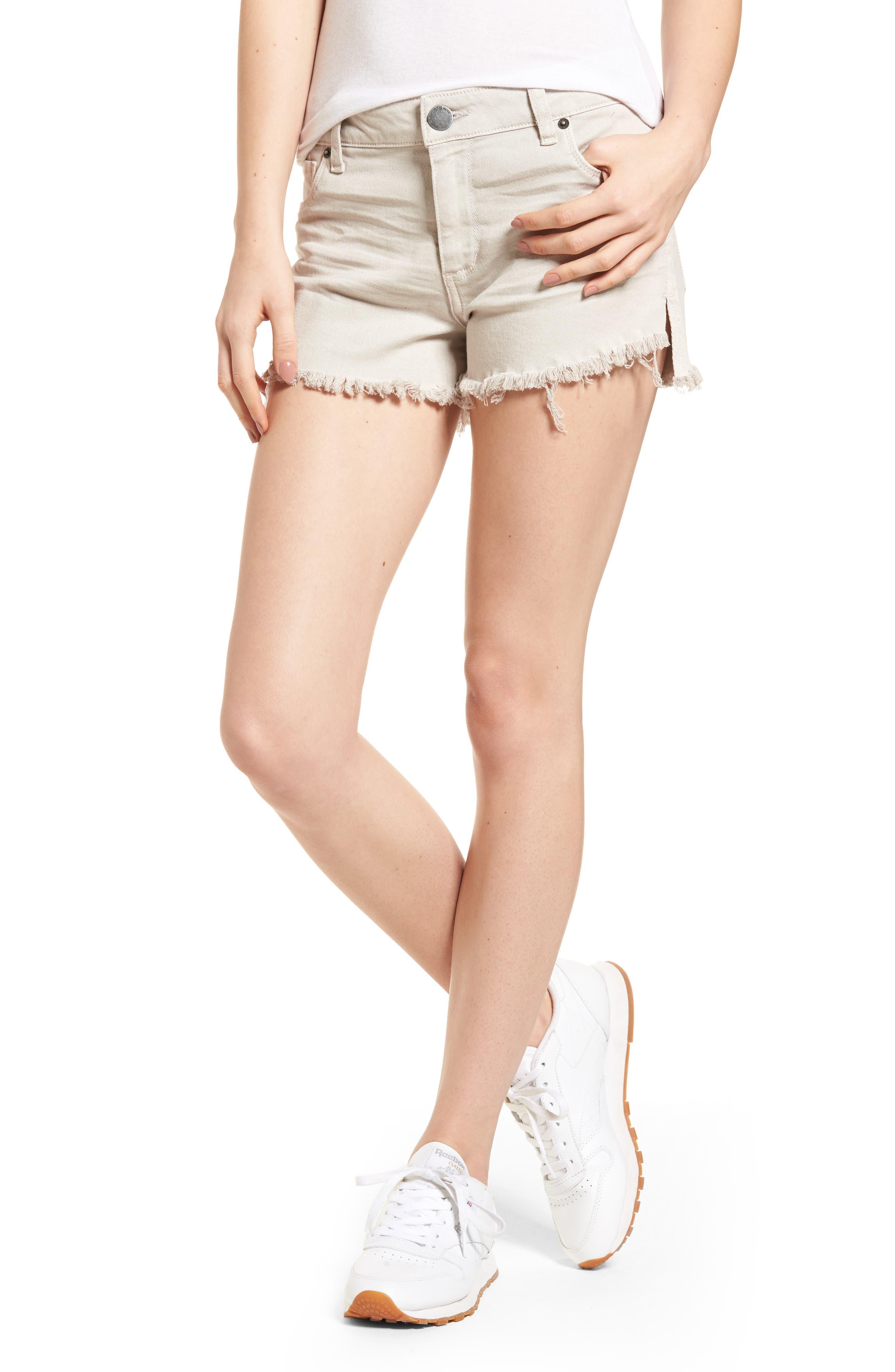 Step Hem Denim Shorts,                         Main,                         color, Dove
