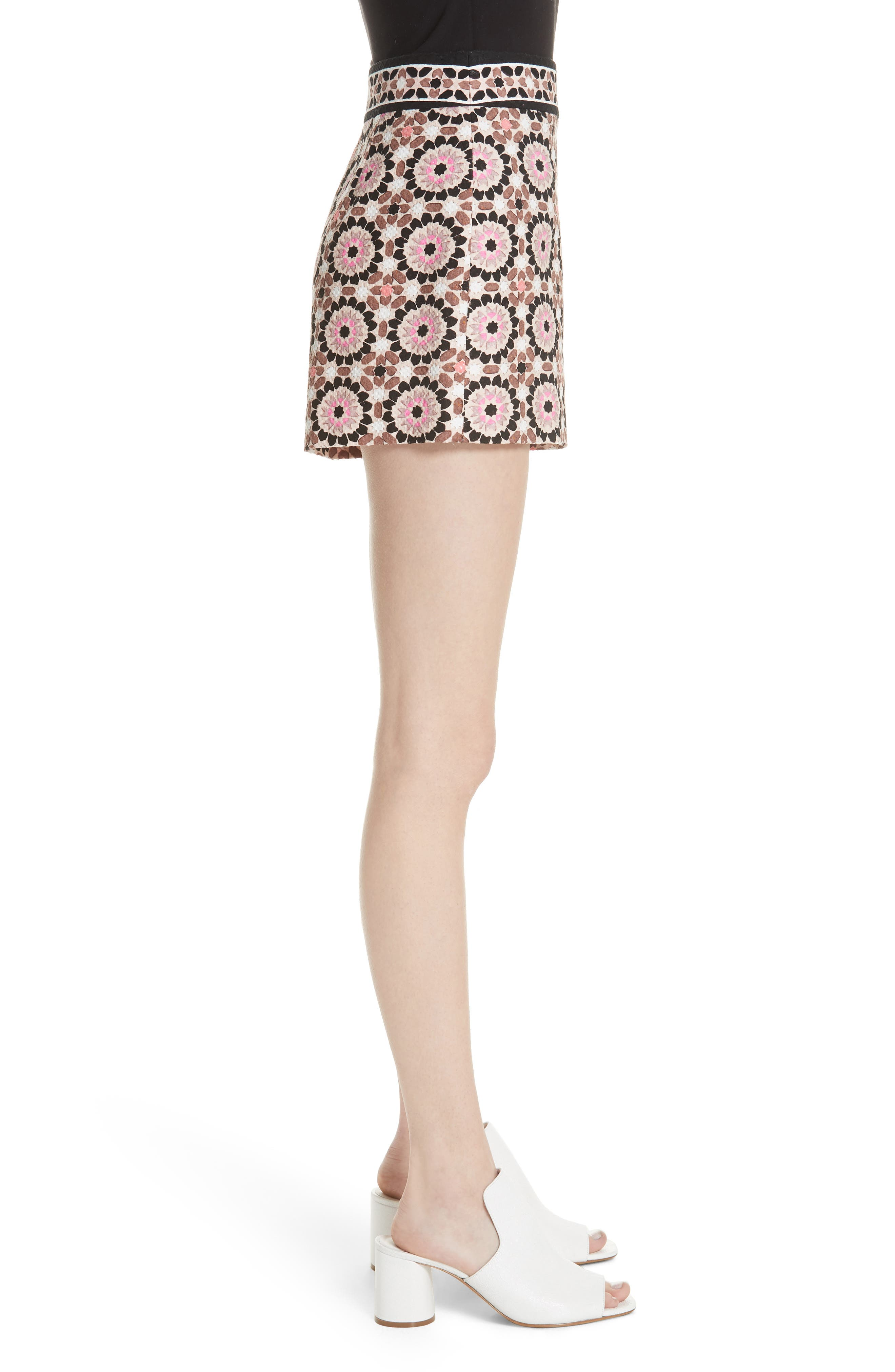 floral mosaic jacquard shorts,                             Alternate thumbnail 3, color,                             Pearl Pink Multi