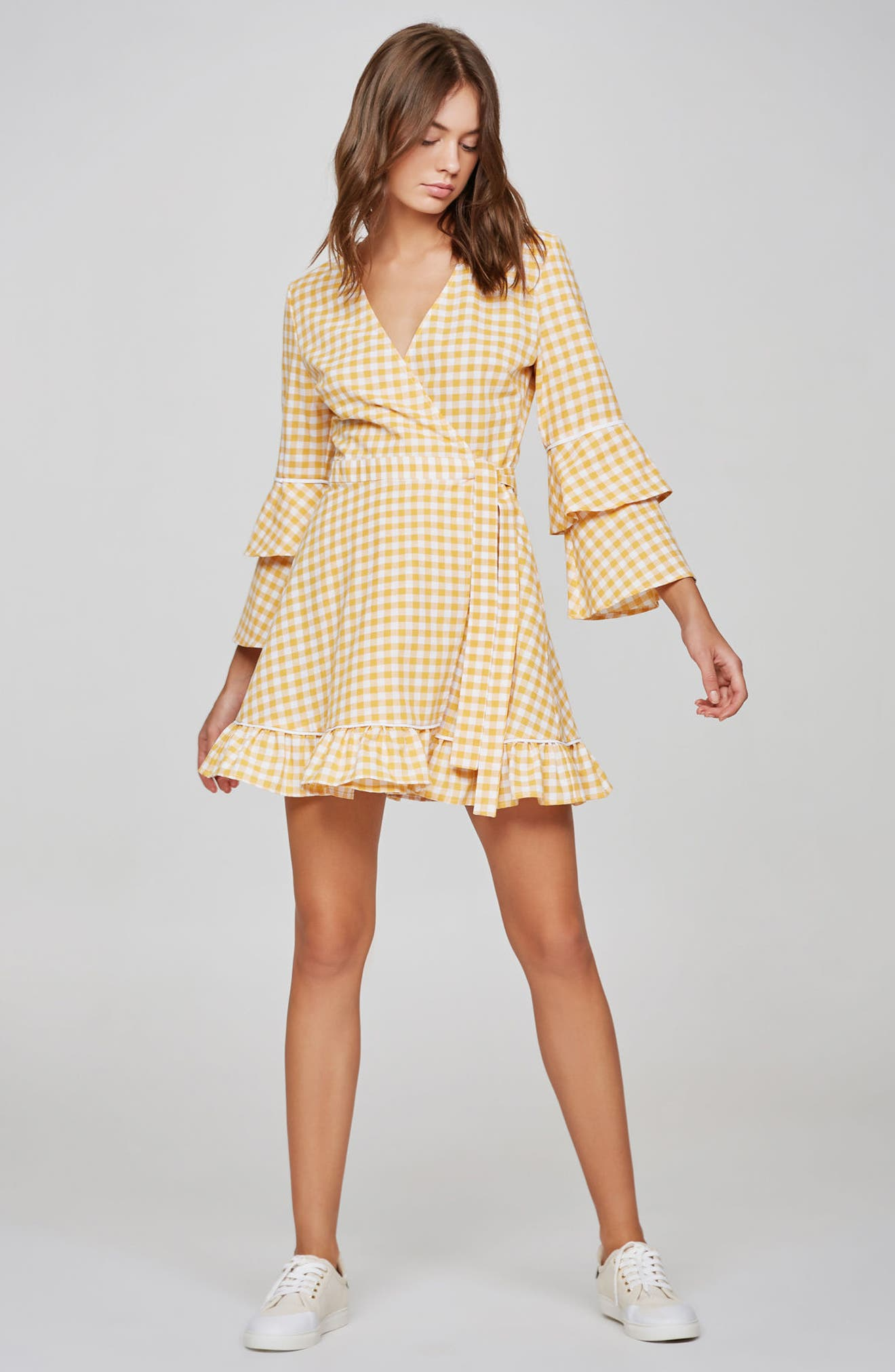 Idyllic Gingham Ruffle Dress,                             Alternate thumbnail 7, color,                             Buttercup