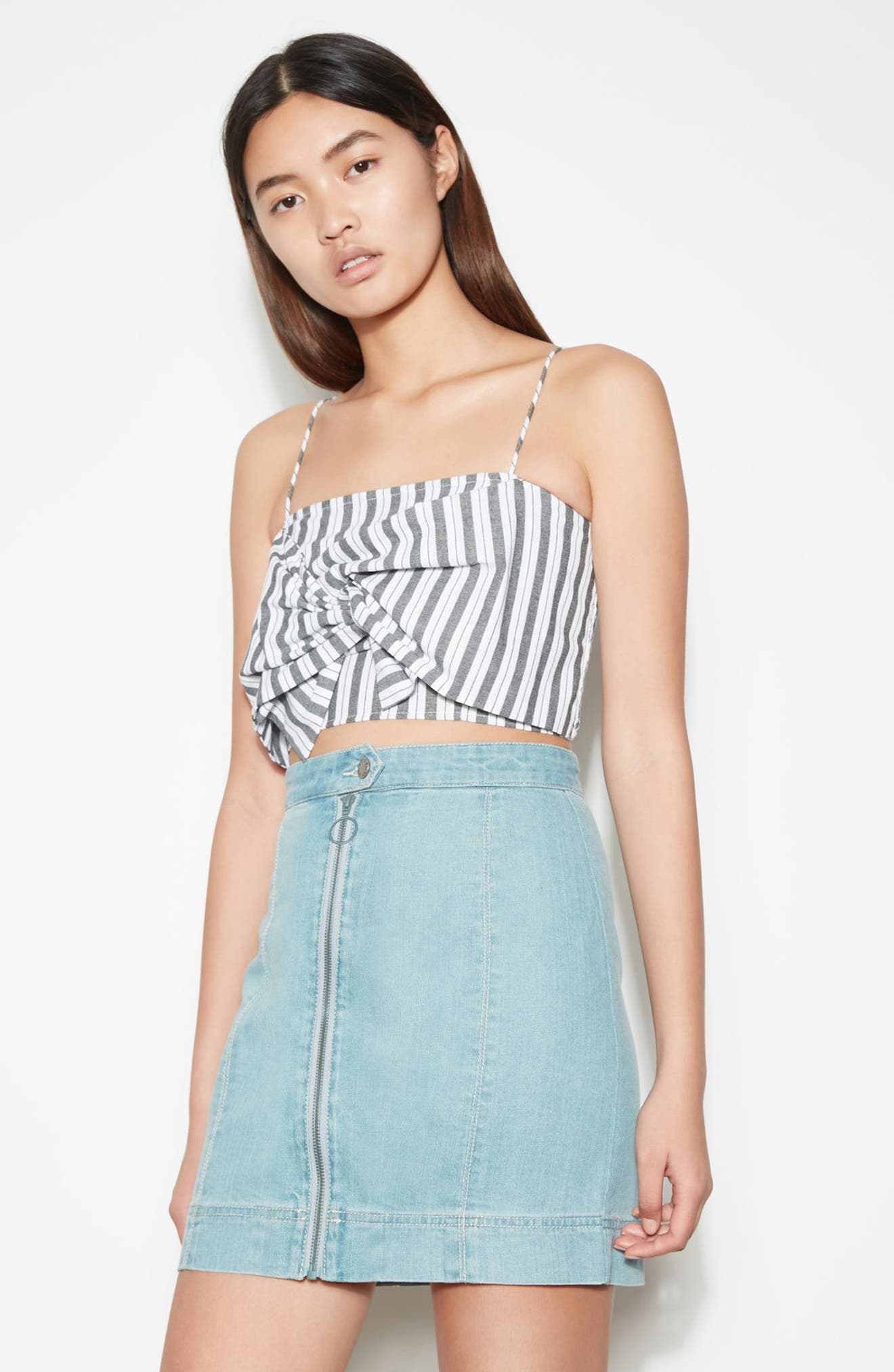 Acacia Stripe Knotted Crop Top,                             Alternate thumbnail 2, color,                             Black W White