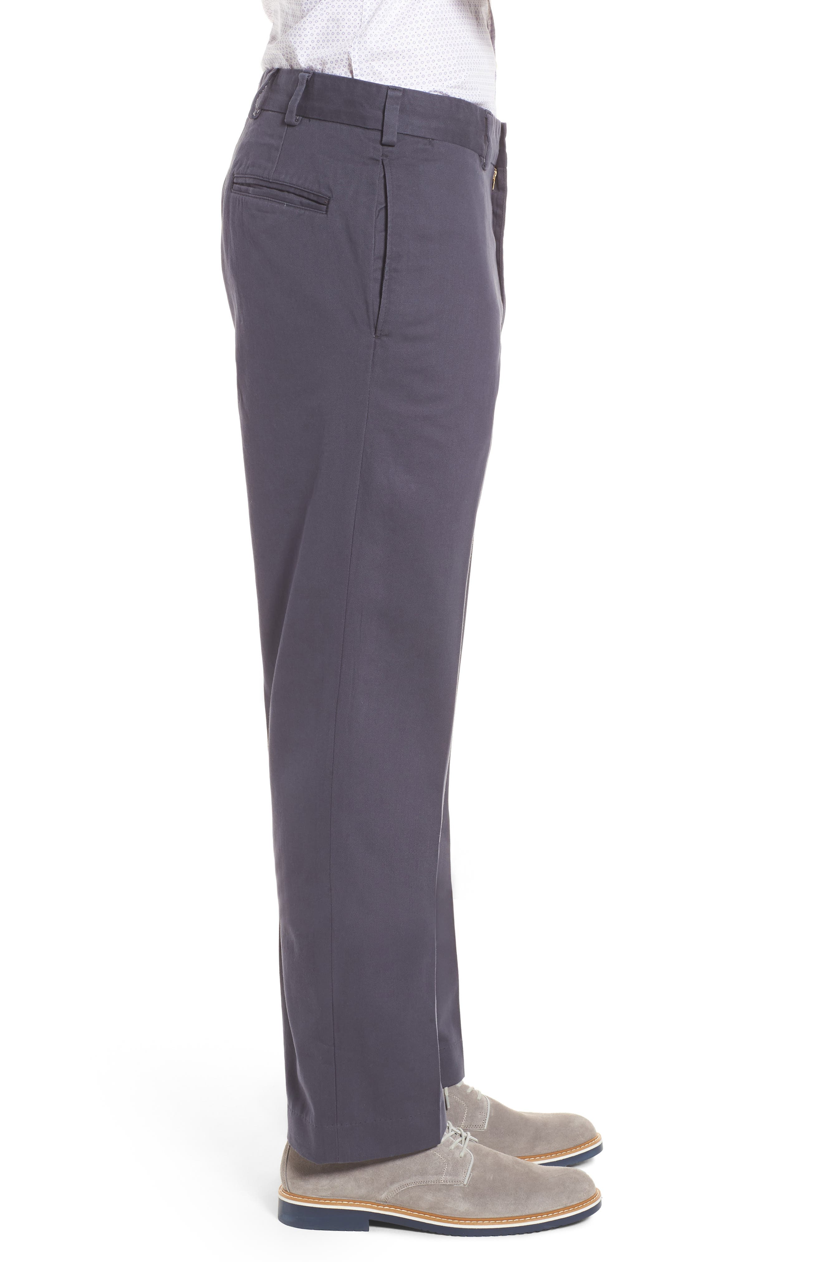 M2 Classic Fit Flat Front Vintage Twill Pants,                             Alternate thumbnail 3, color,                             Navy