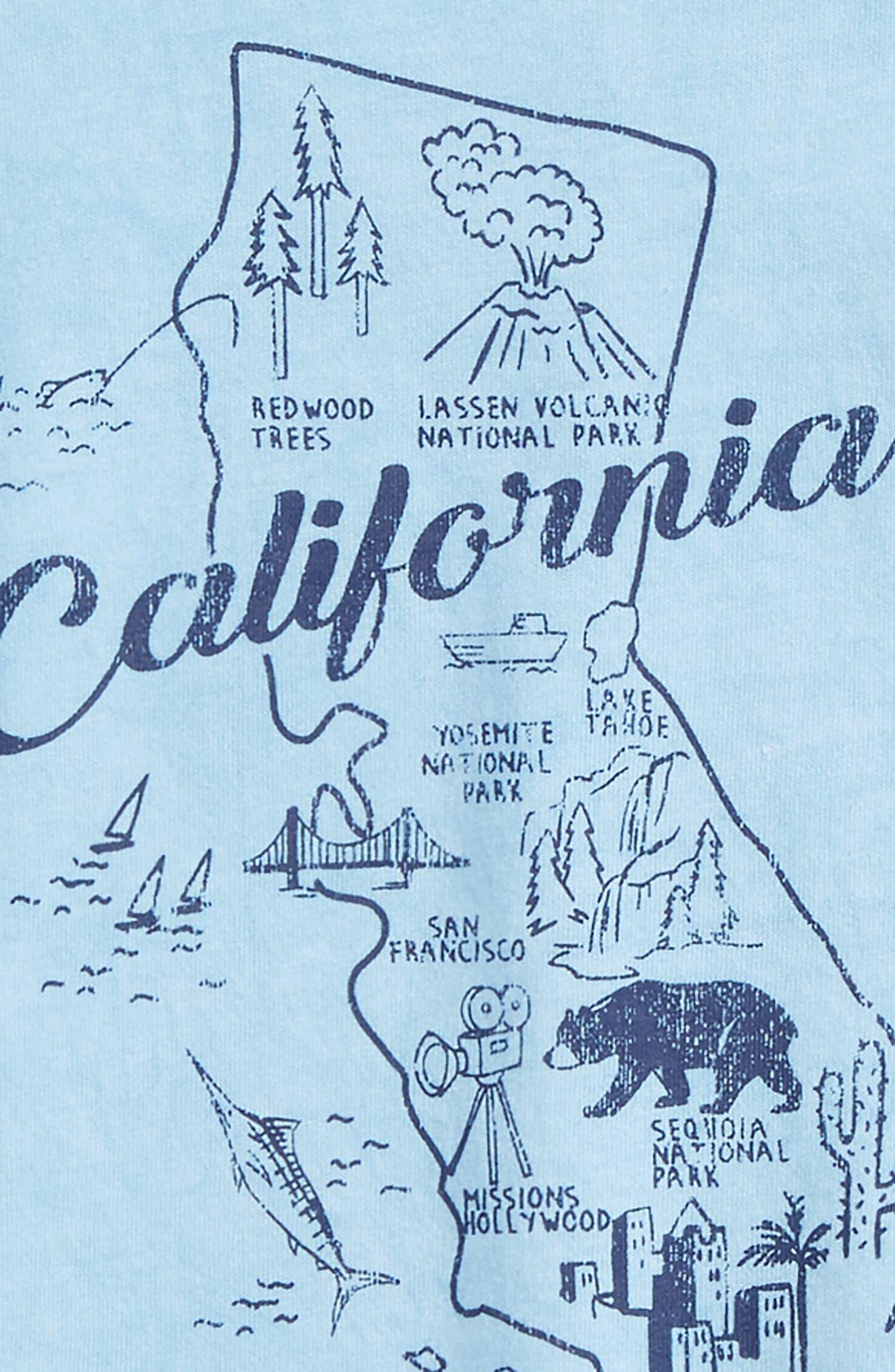 California Map T-Shirt & Shorts Set,                             Alternate thumbnail 2, color,                             Sky Blue