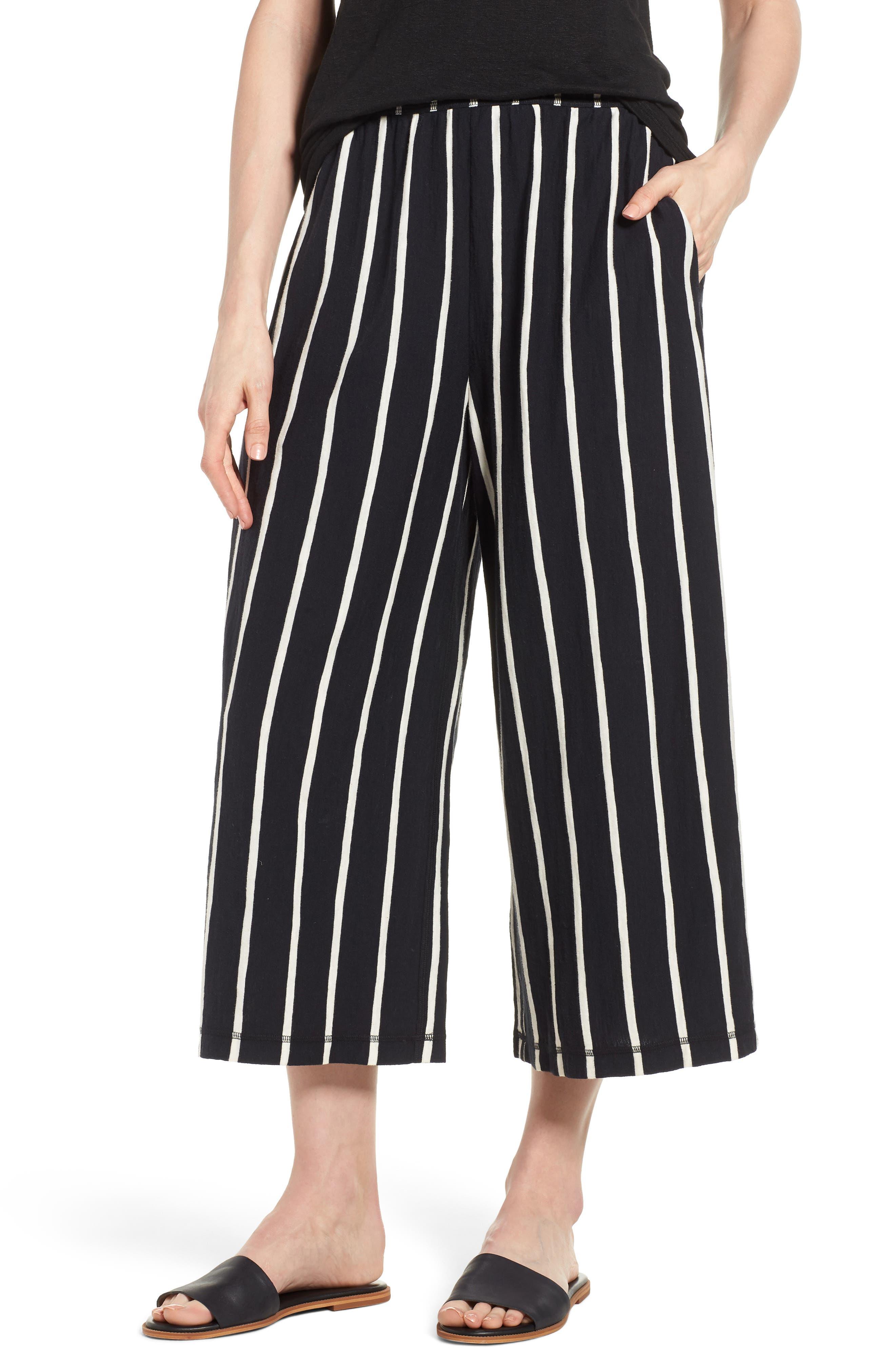 Stripe Organic Cotton Capri Pants,                         Main,                         color, Black/ White