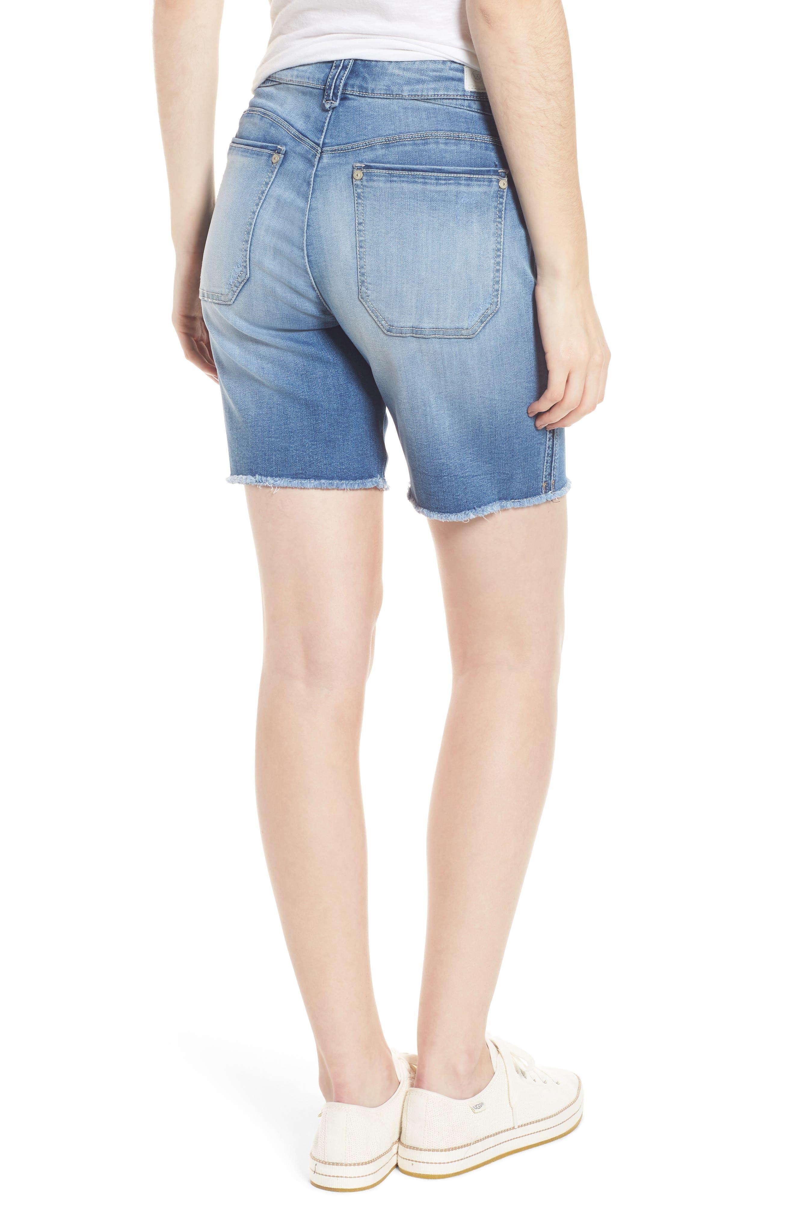 Flex-Ellent High Rise Denim Shorts,                             Alternate thumbnail 2, color,                             Light Blue