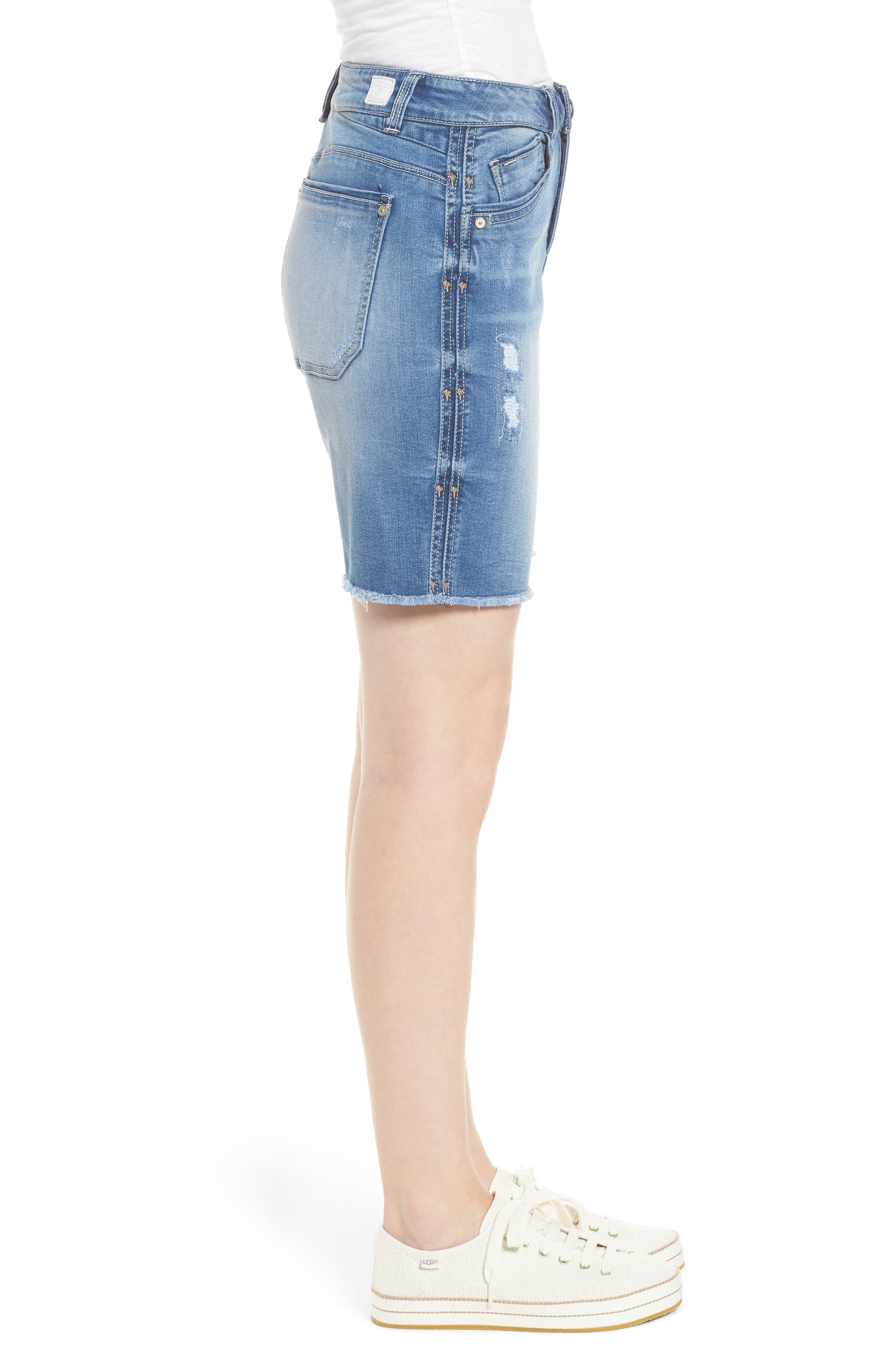 Flex-Ellent High Rise Denim Shorts,                             Alternate thumbnail 3, color,                             Light Blue