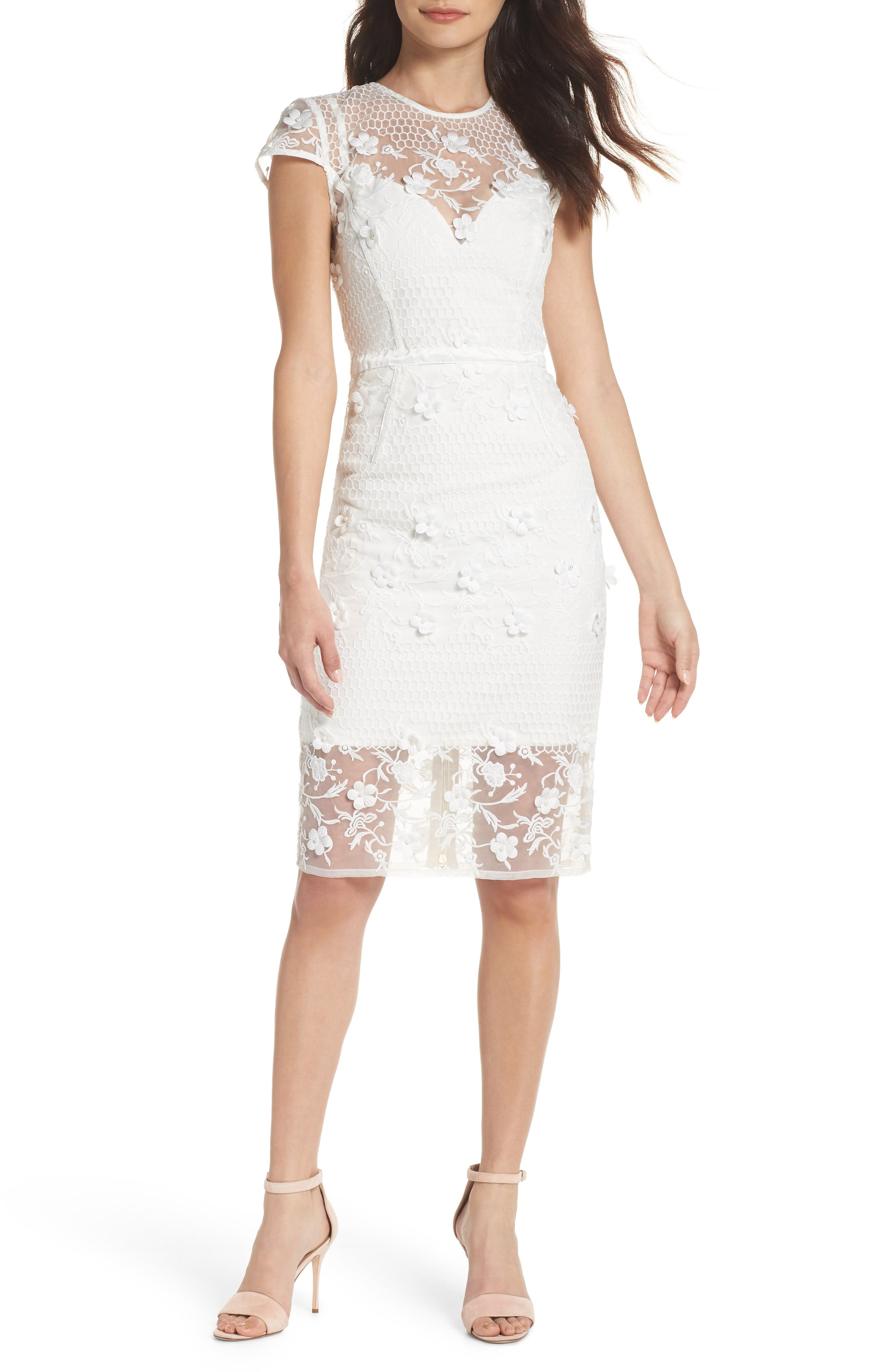 Osa Embroidered Cap Sleeve Organza Dress,                         Main,                         color, White