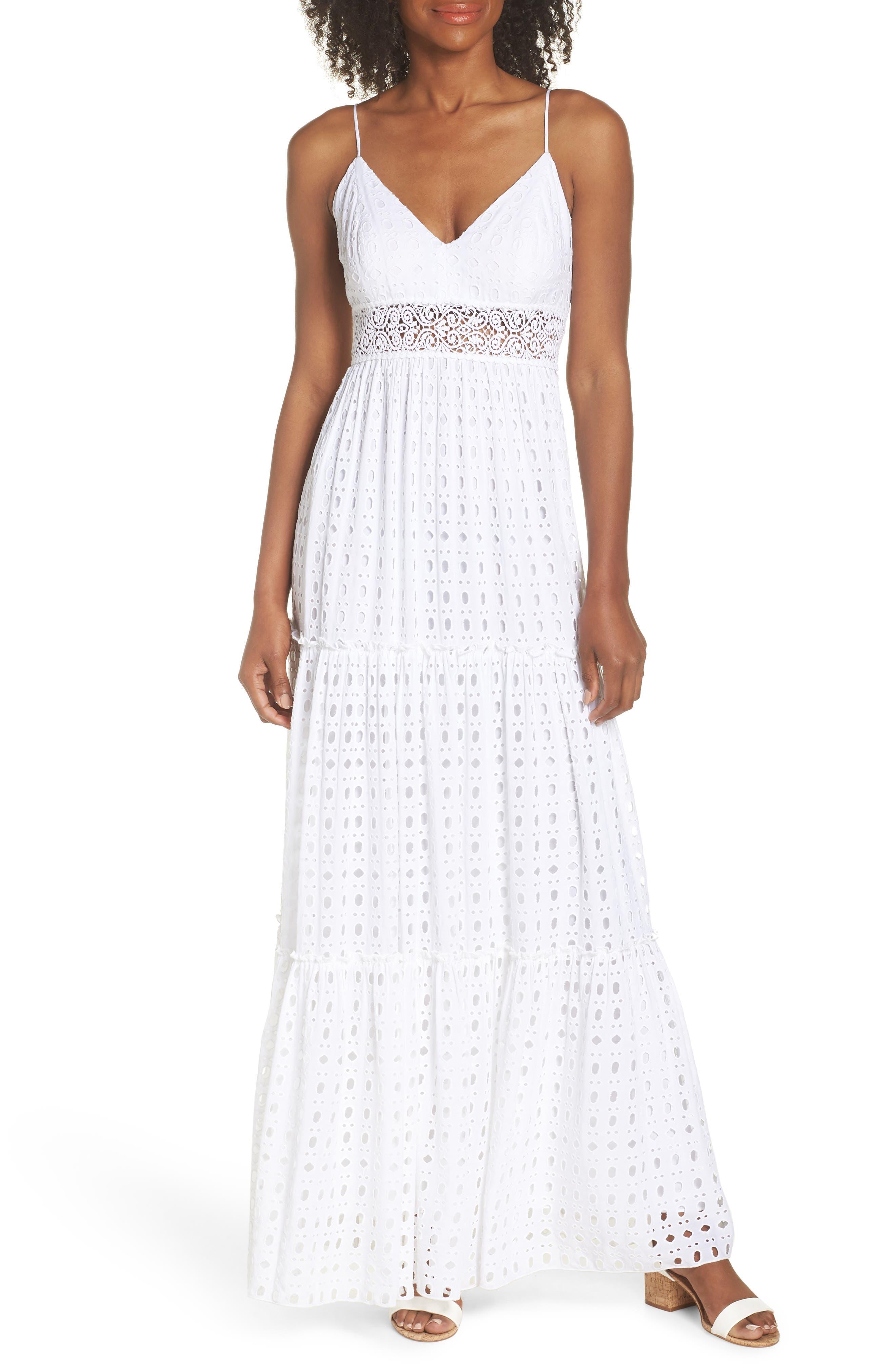 Melody Maxi Dress,                             Main thumbnail 1, color,                             Resort White Eyelet