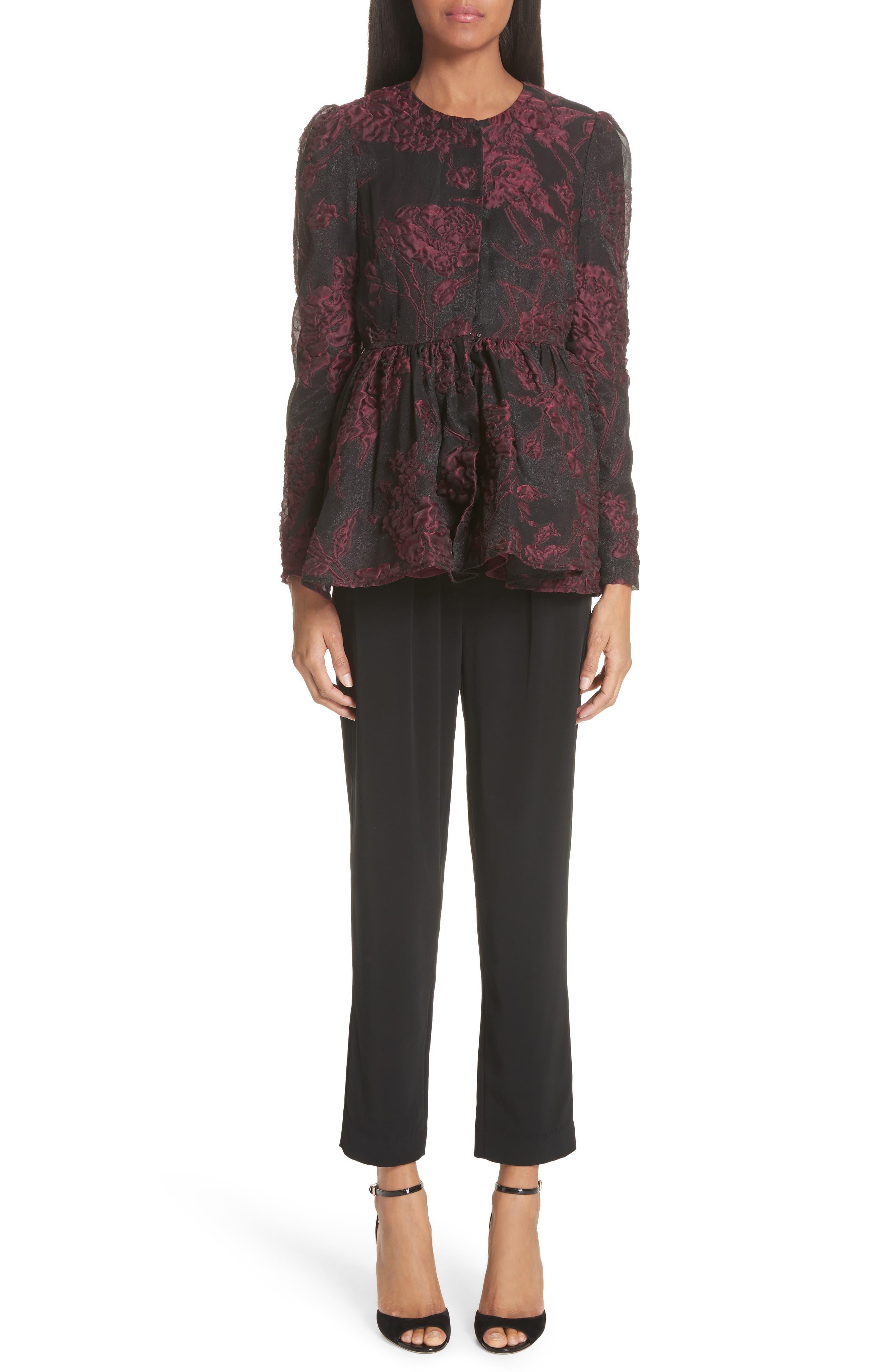 Floral Silk Blend Jacquard Peplum Jacket,                             Alternate thumbnail 7, color,                             Black/ Plum