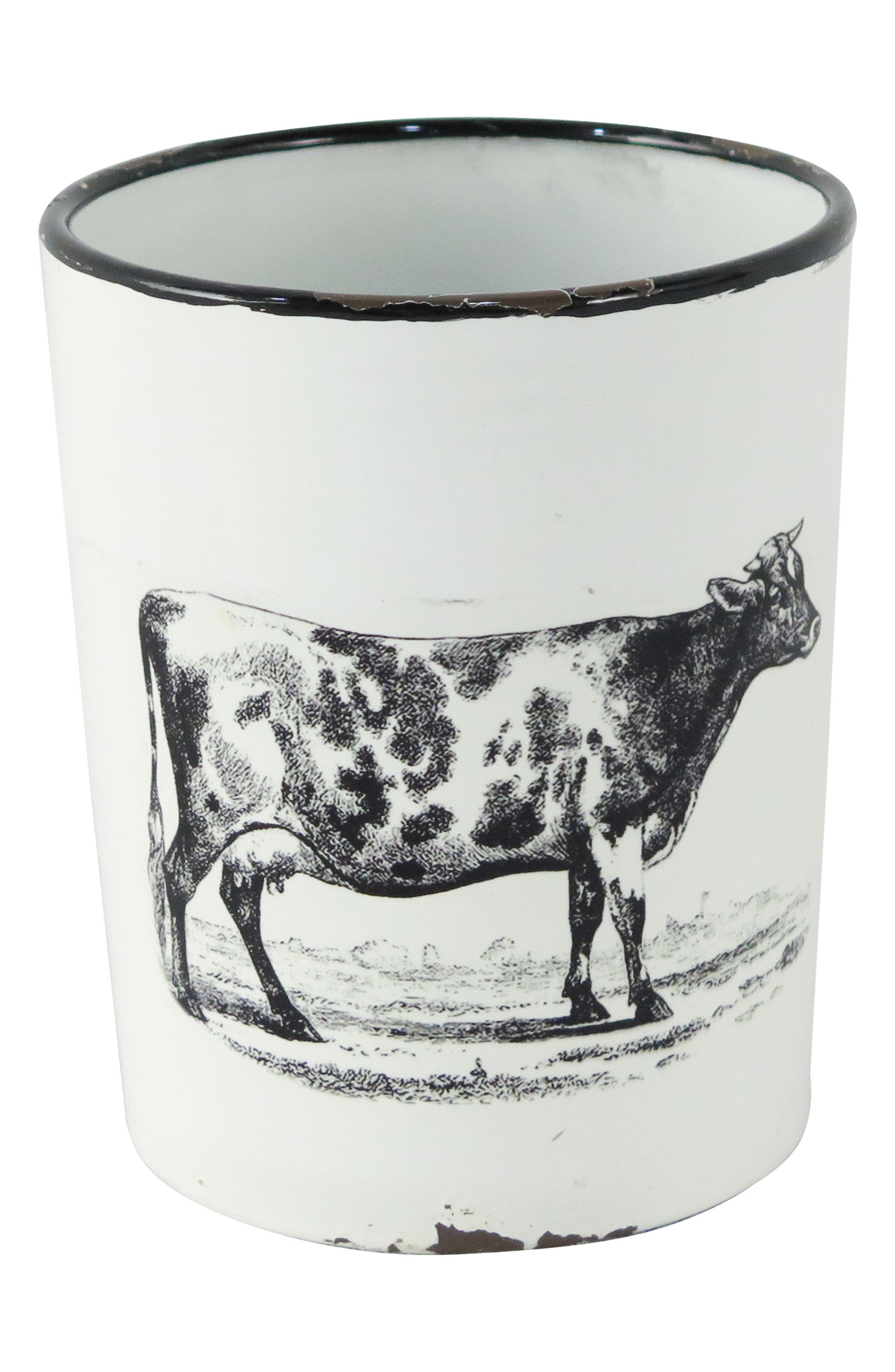 Enamel Cow Planter with Handle,                             Main thumbnail 1, color,                             Metal