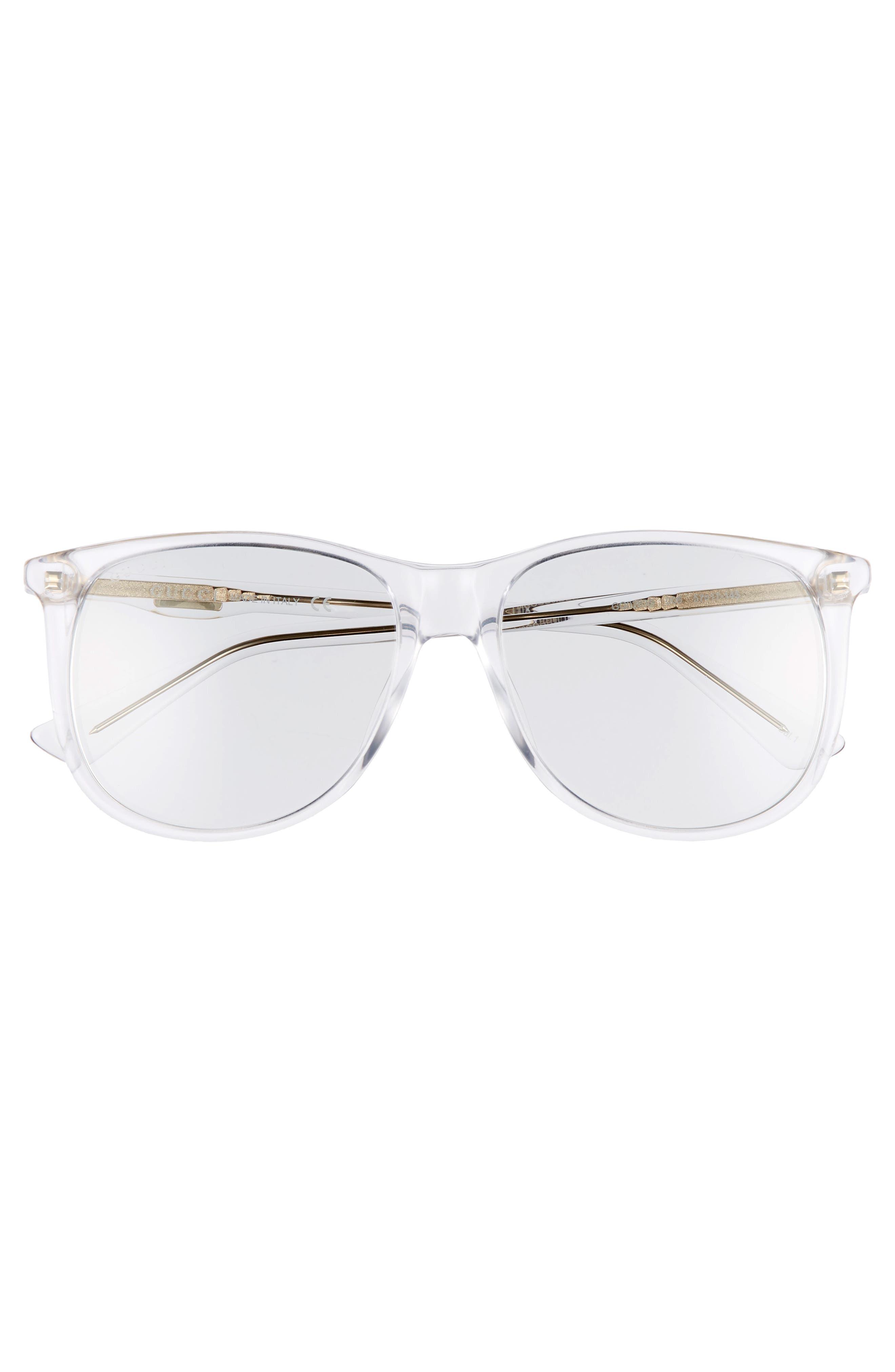 80s 56mm Sunglasses,                             Alternate thumbnail 2, color,                             Crystal