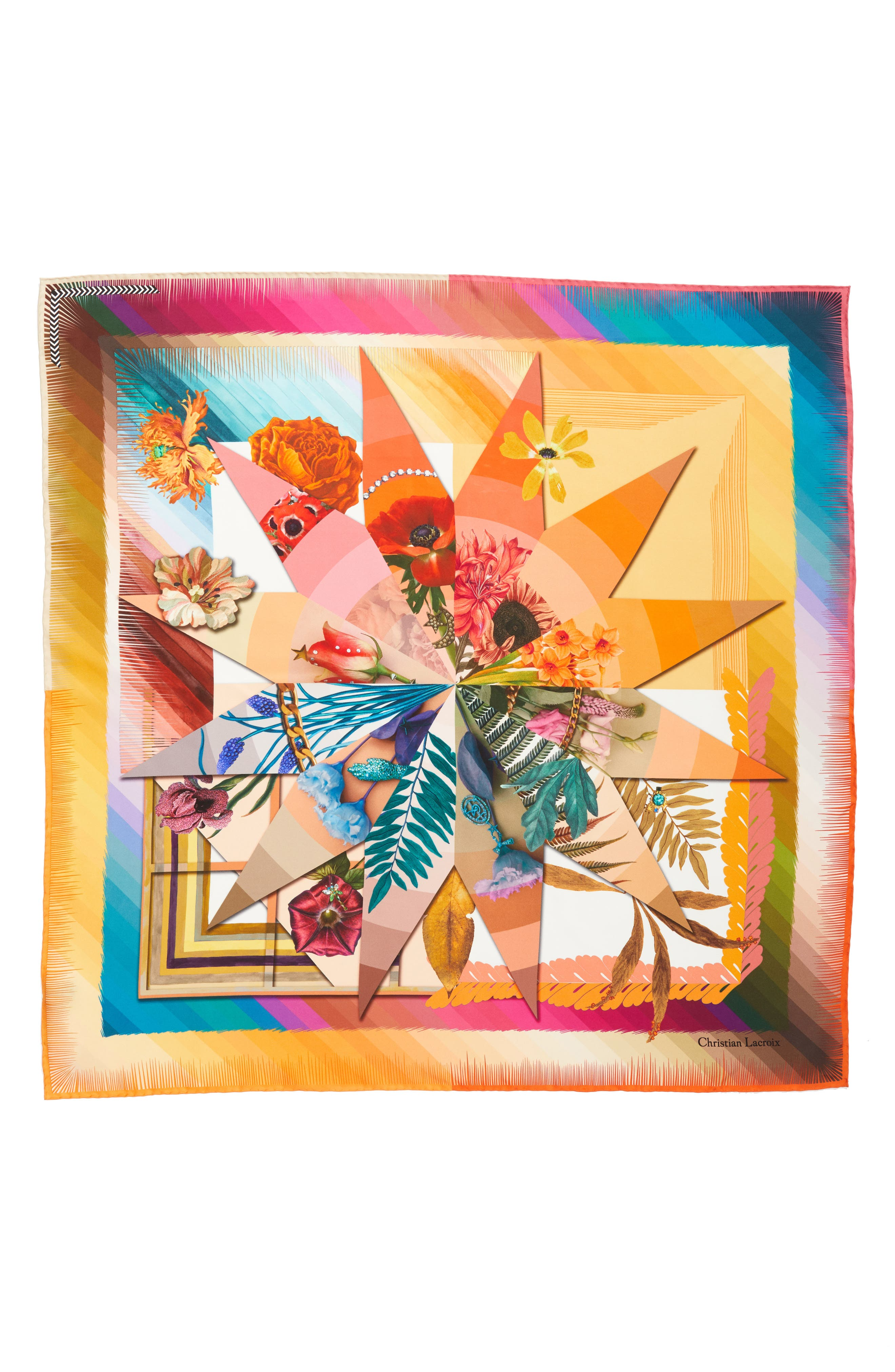 Cristian Lacroix Botanic Silk Scarf,                         Main,                         color, Yellow