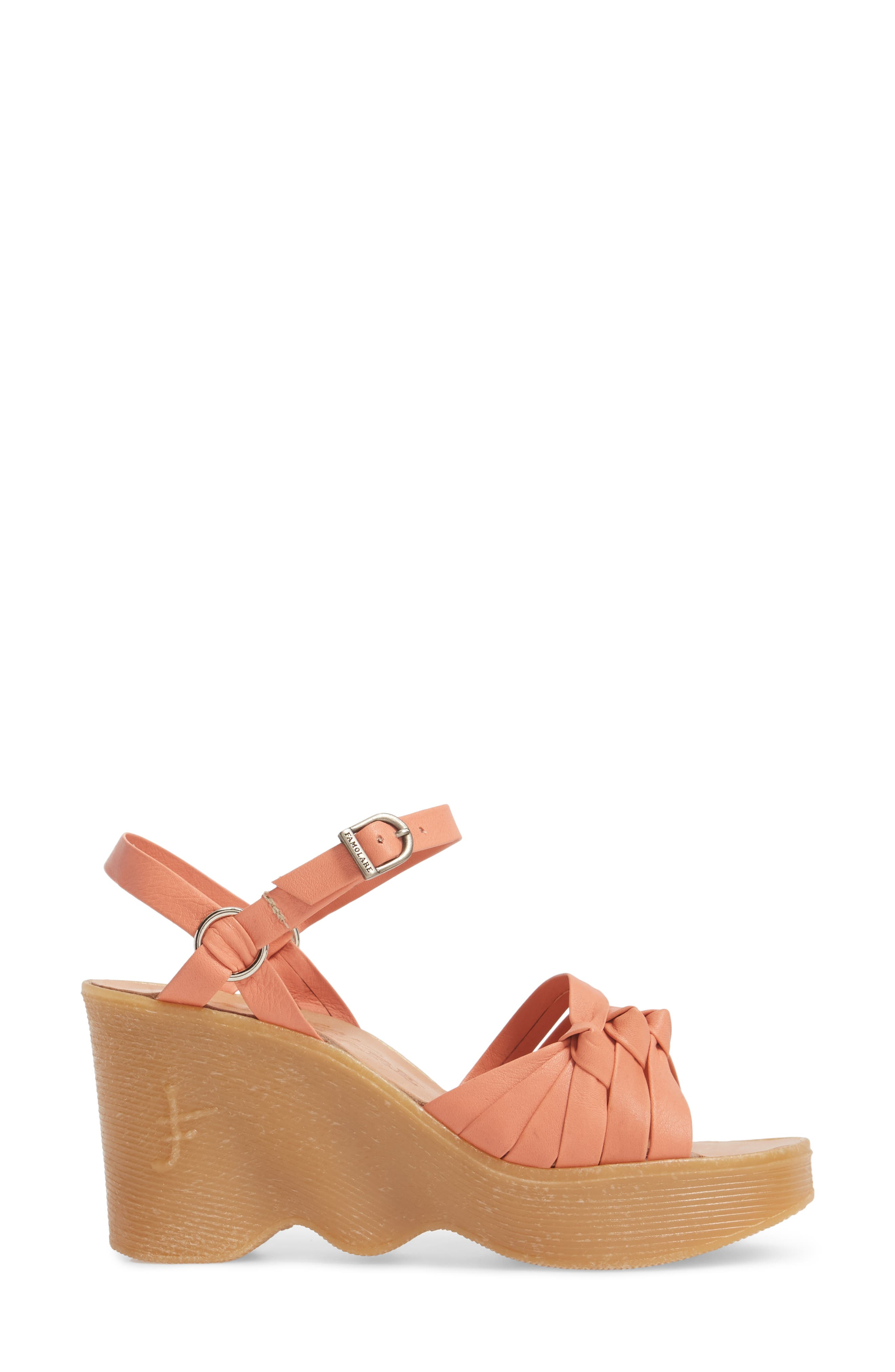 Knot So Fast Wedge Sandal,                             Alternate thumbnail 3, color,                             Salmon Leather