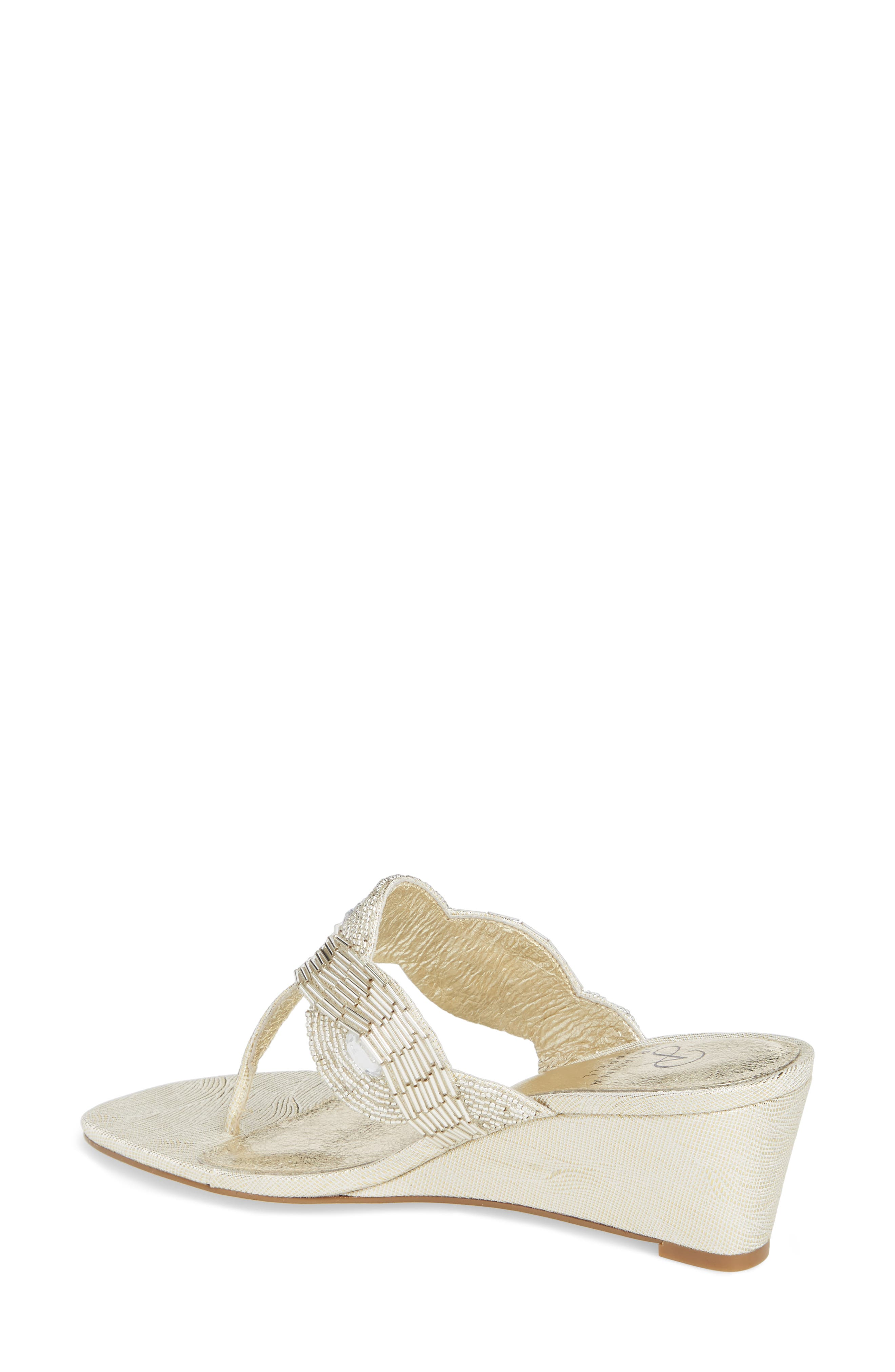 Coco Beaded Wedge Sandal,                             Alternate thumbnail 2, color,                             Pearl Fabric