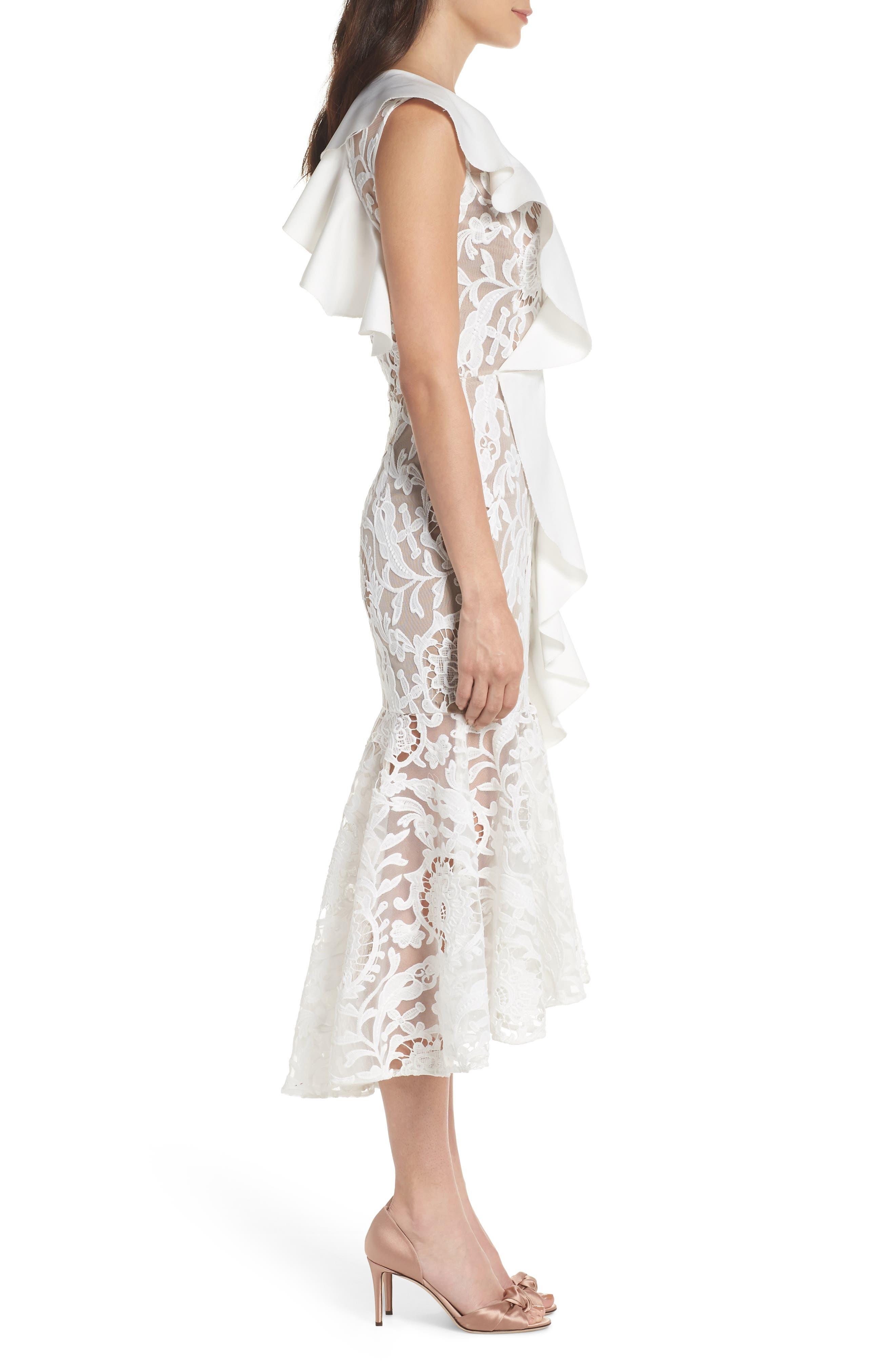 Rocha Waterfall Ruffle Lace Midi Dress,                             Alternate thumbnail 3, color,                             White