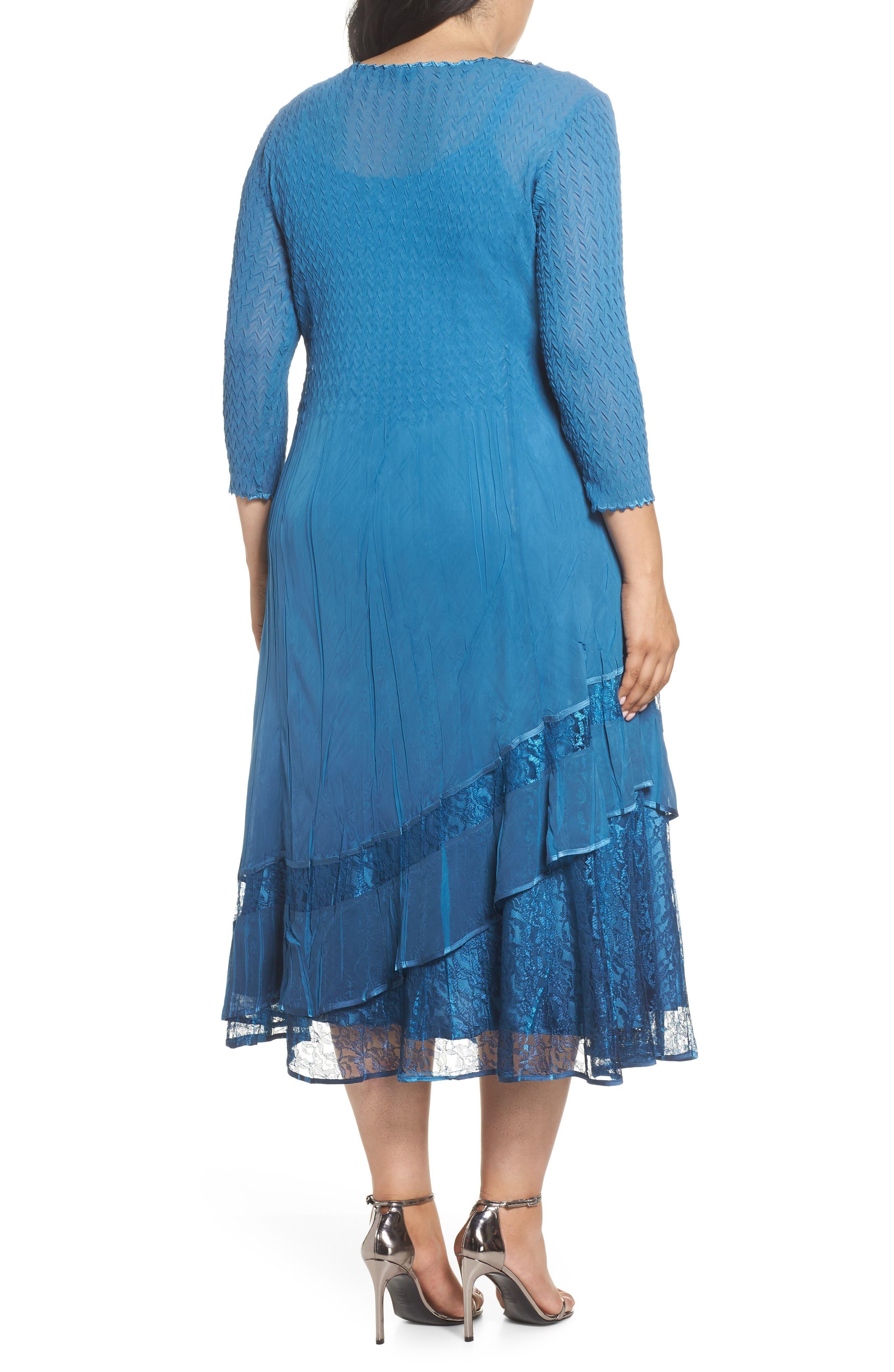 Beaded Neck Asymmetrical Charmeuse A-Line Dress,                             Alternate thumbnail 2, color,                             Blue Dusk Night Ombre
