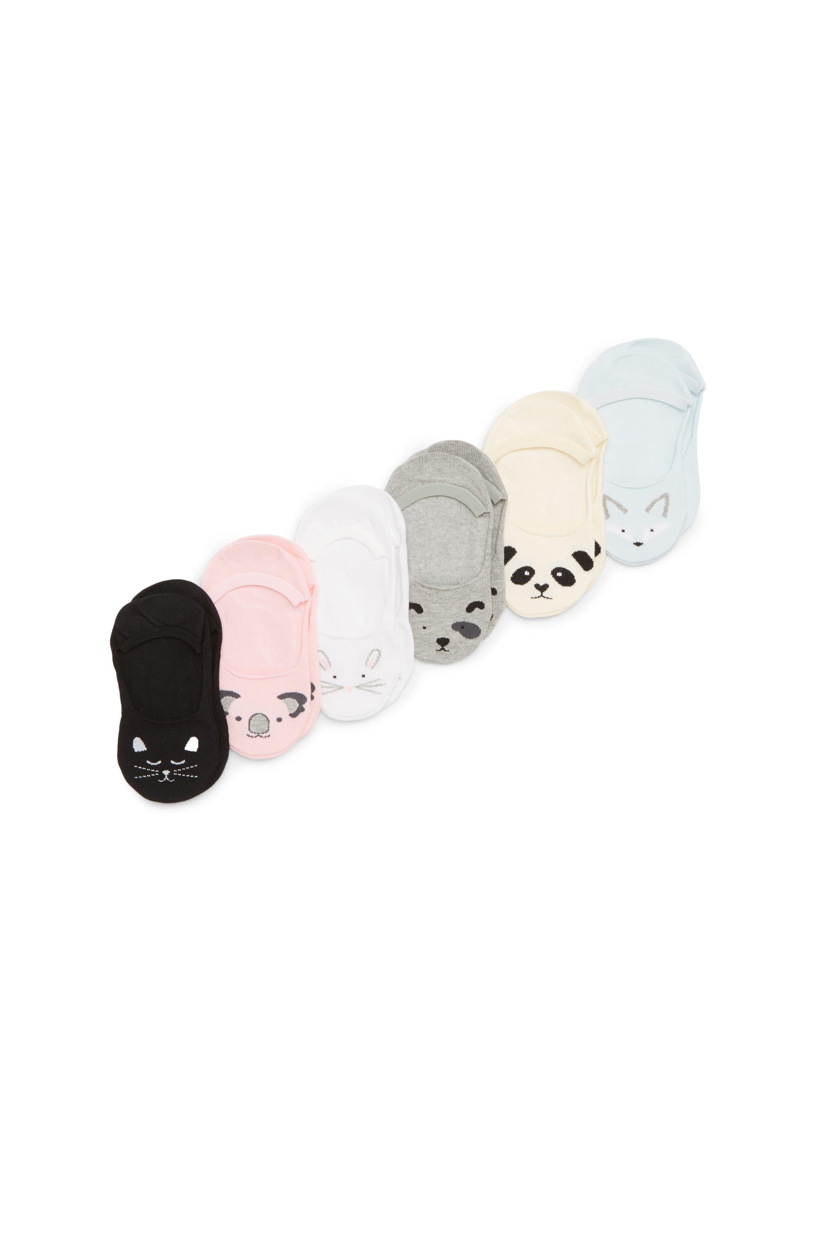 6-Pack Critter No-Show Socks,                         Main,                         color, White Multi
