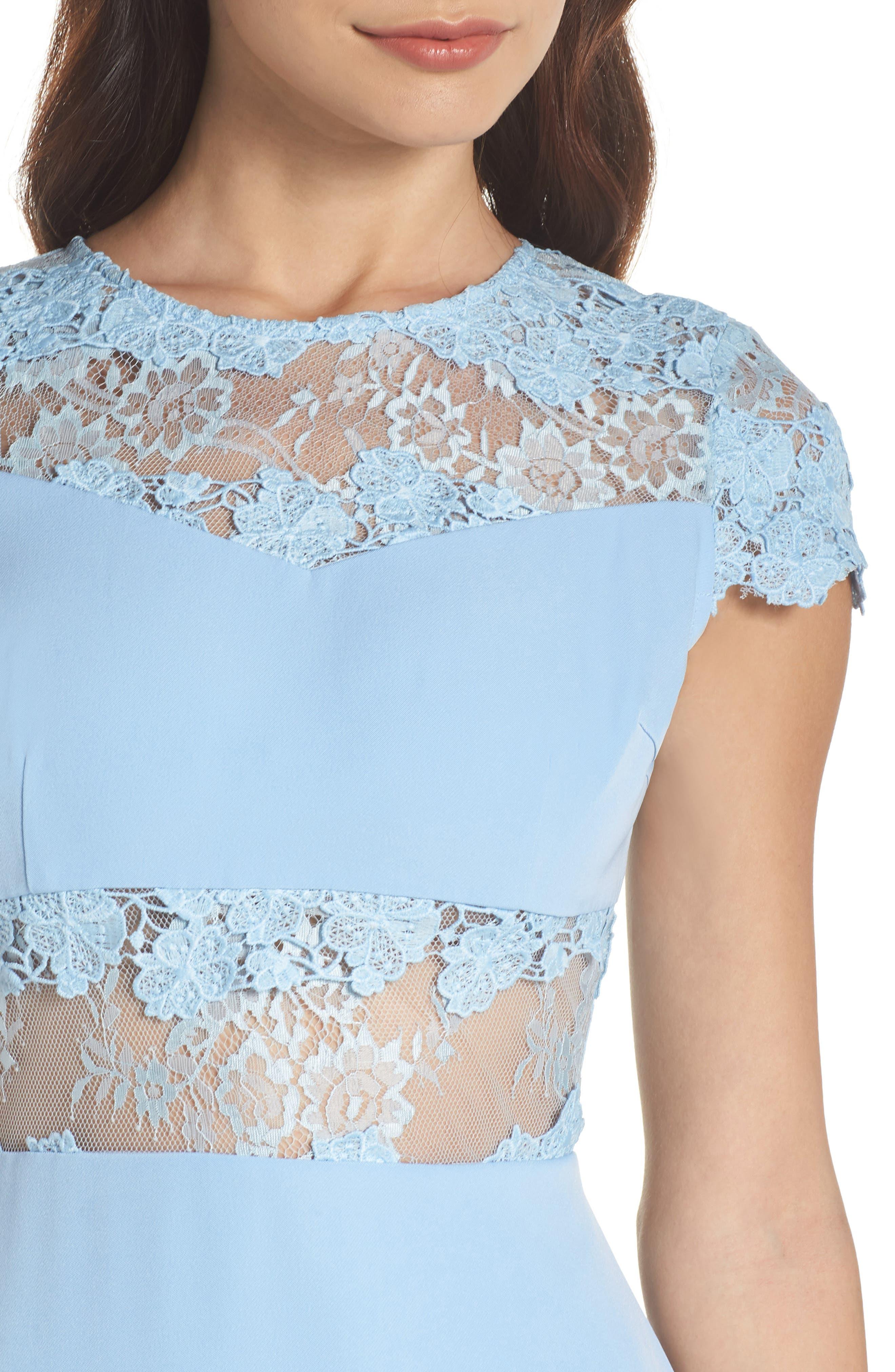 Flamenco Lace Fit & Flare Dress,                             Alternate thumbnail 4, color,                             Blue
